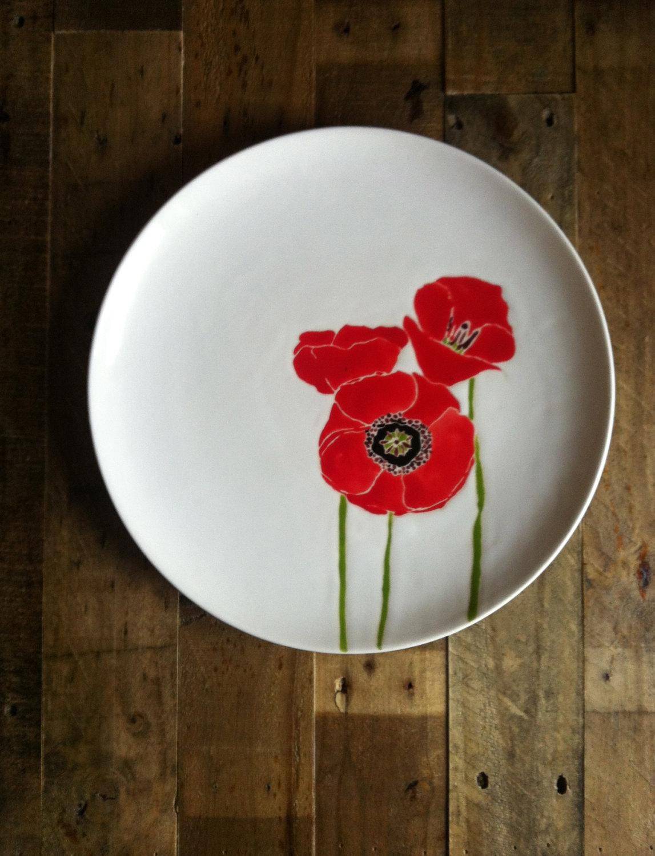 Jessica Howard Red Poppies Ceramic Platter