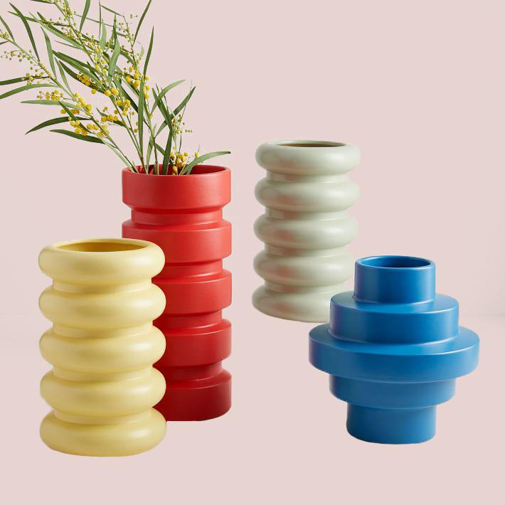 West Elm Stepped Form Ceramic Vase