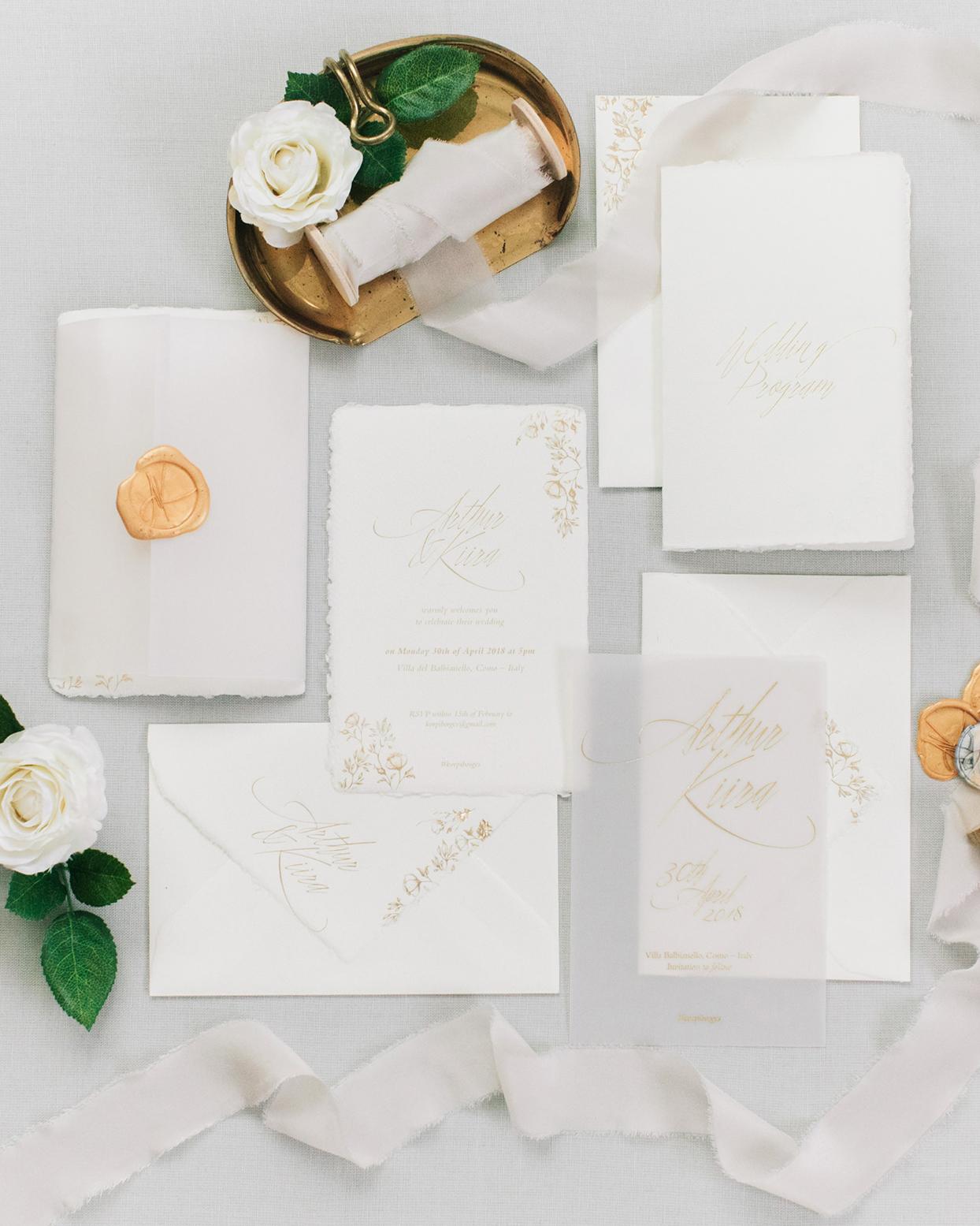 kiira arthur white and gold wedding invitations