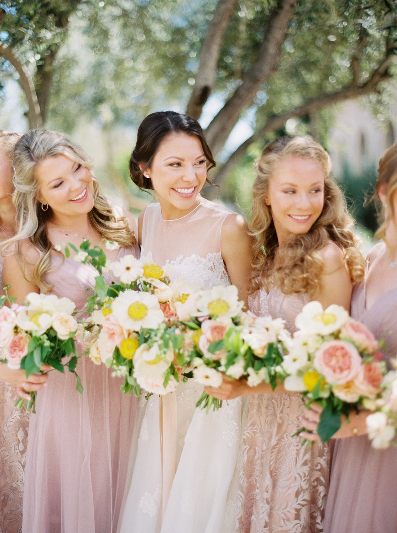blush hued a-line bridesmaids dresses