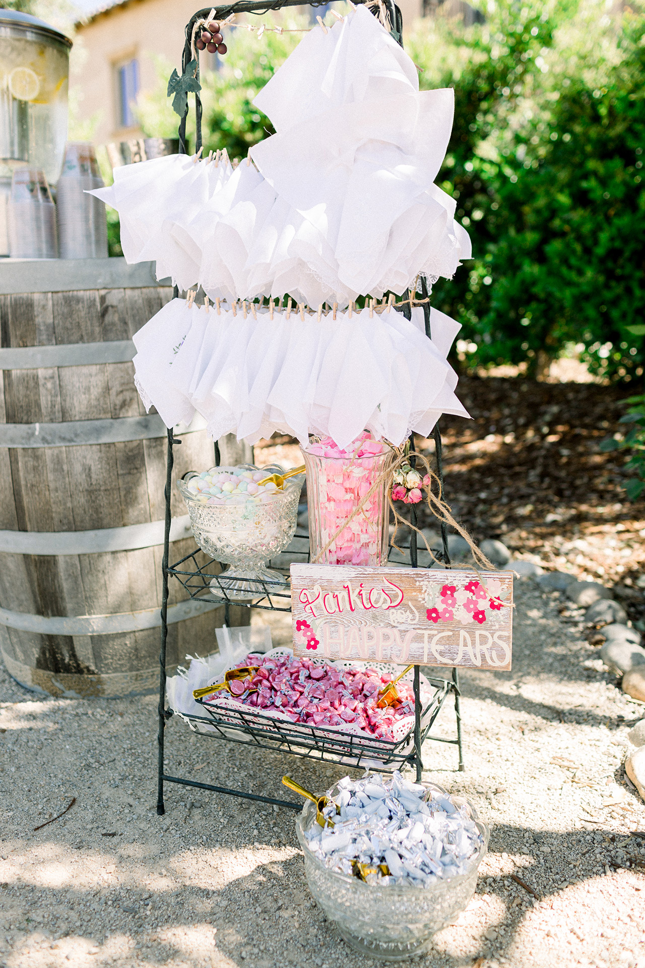 DIY handkerchief candy display outdoors