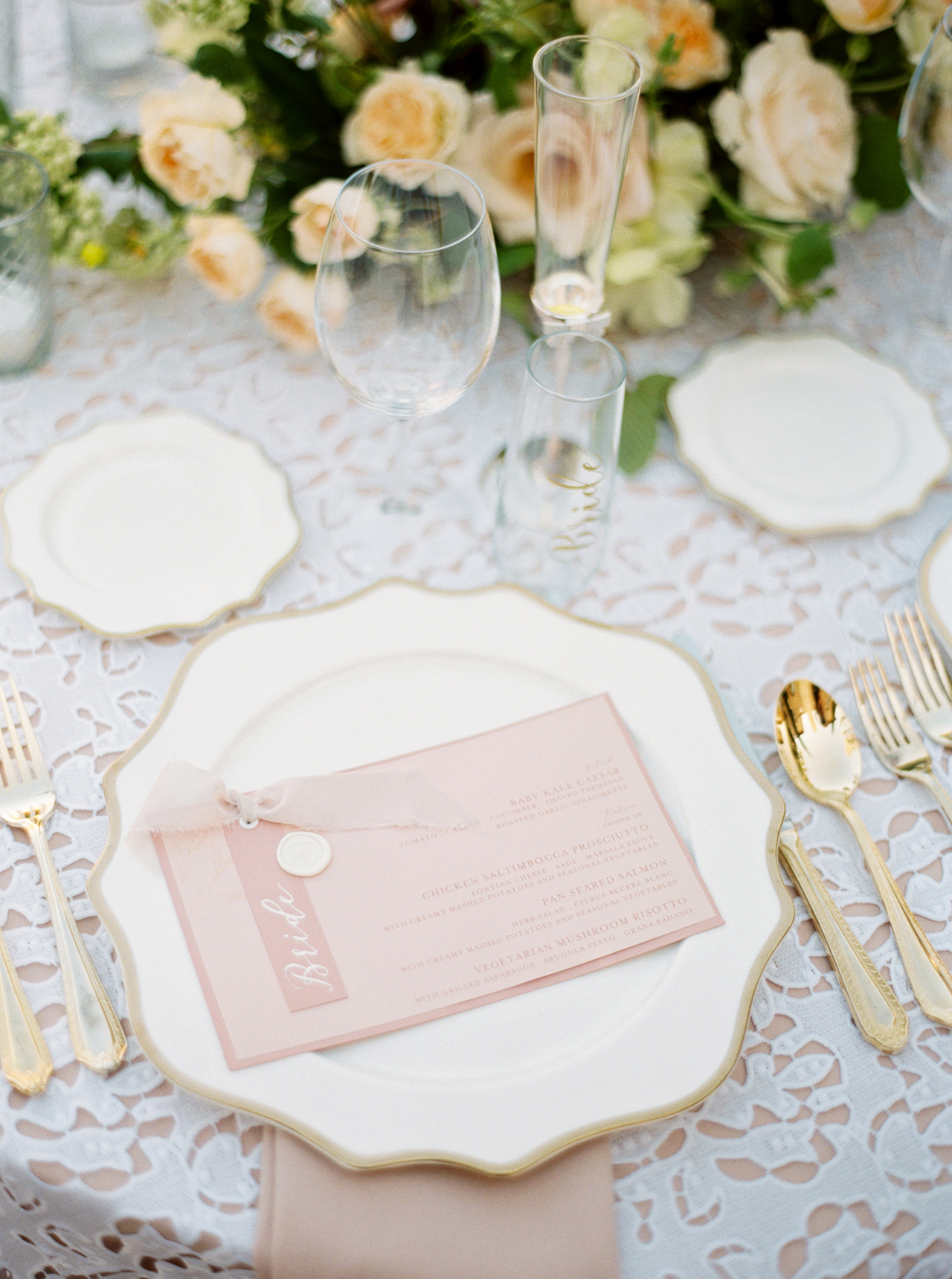 wedding reception blush-hued place setting menu