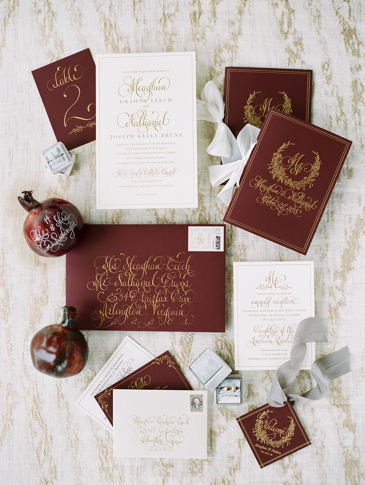 maroon, gold and white fall wedding invitations