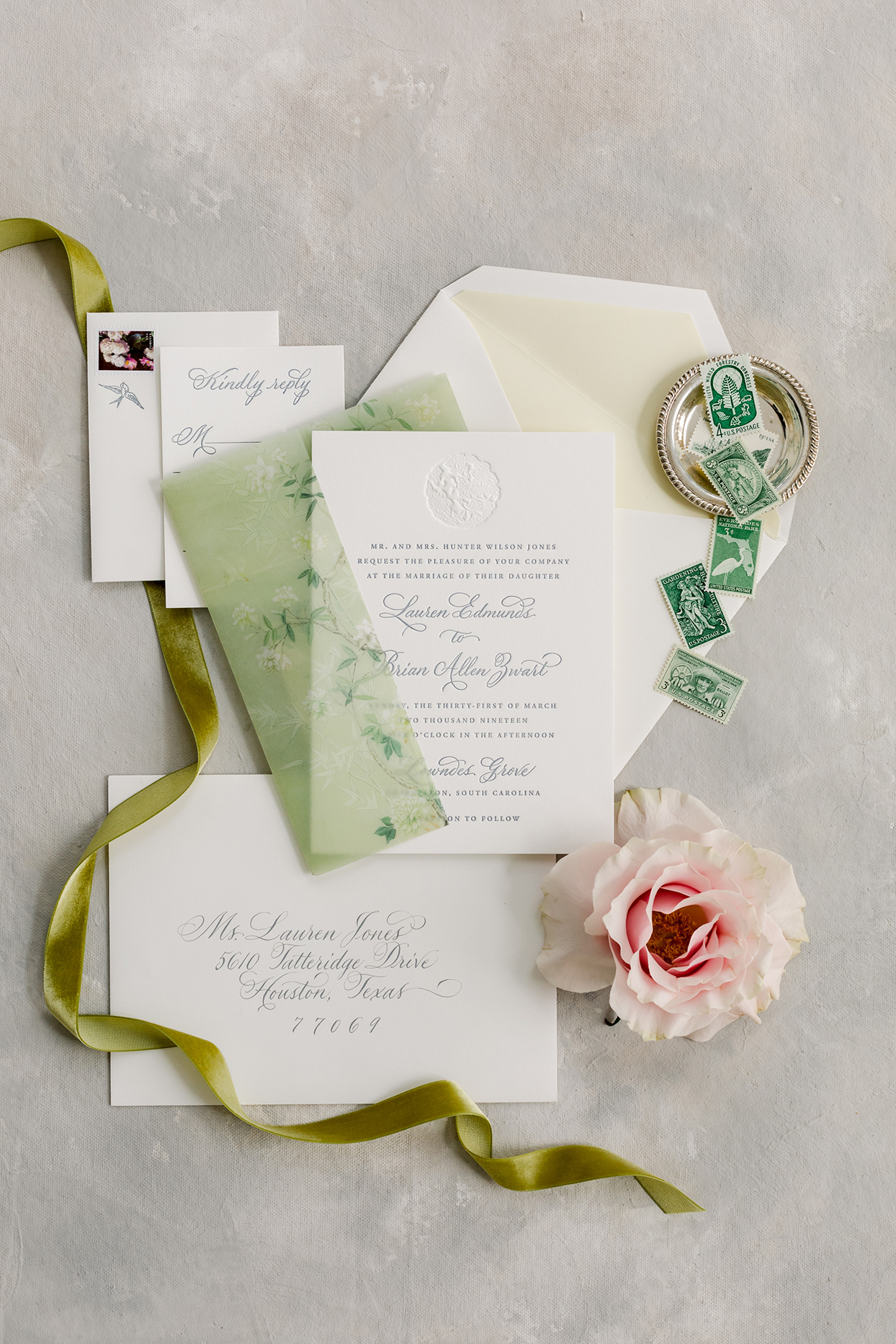 green and white fall wedding invitations