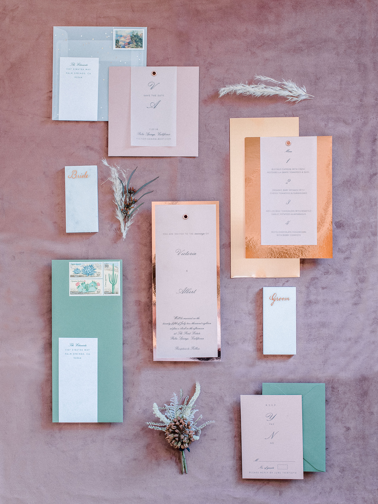 metallic pink and green fall wedding invitations