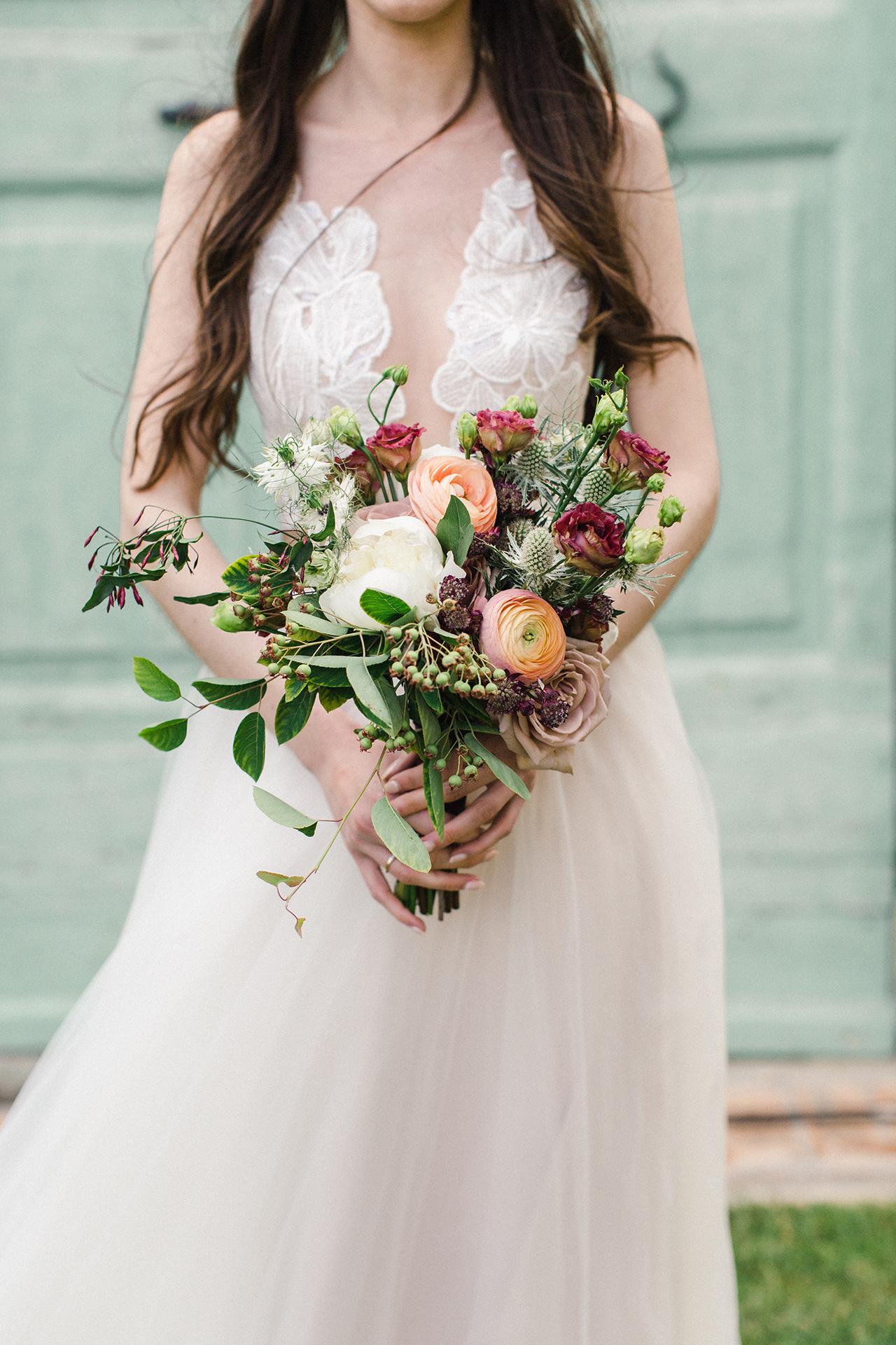 peonies scabiosa roses lush bridal bouquet