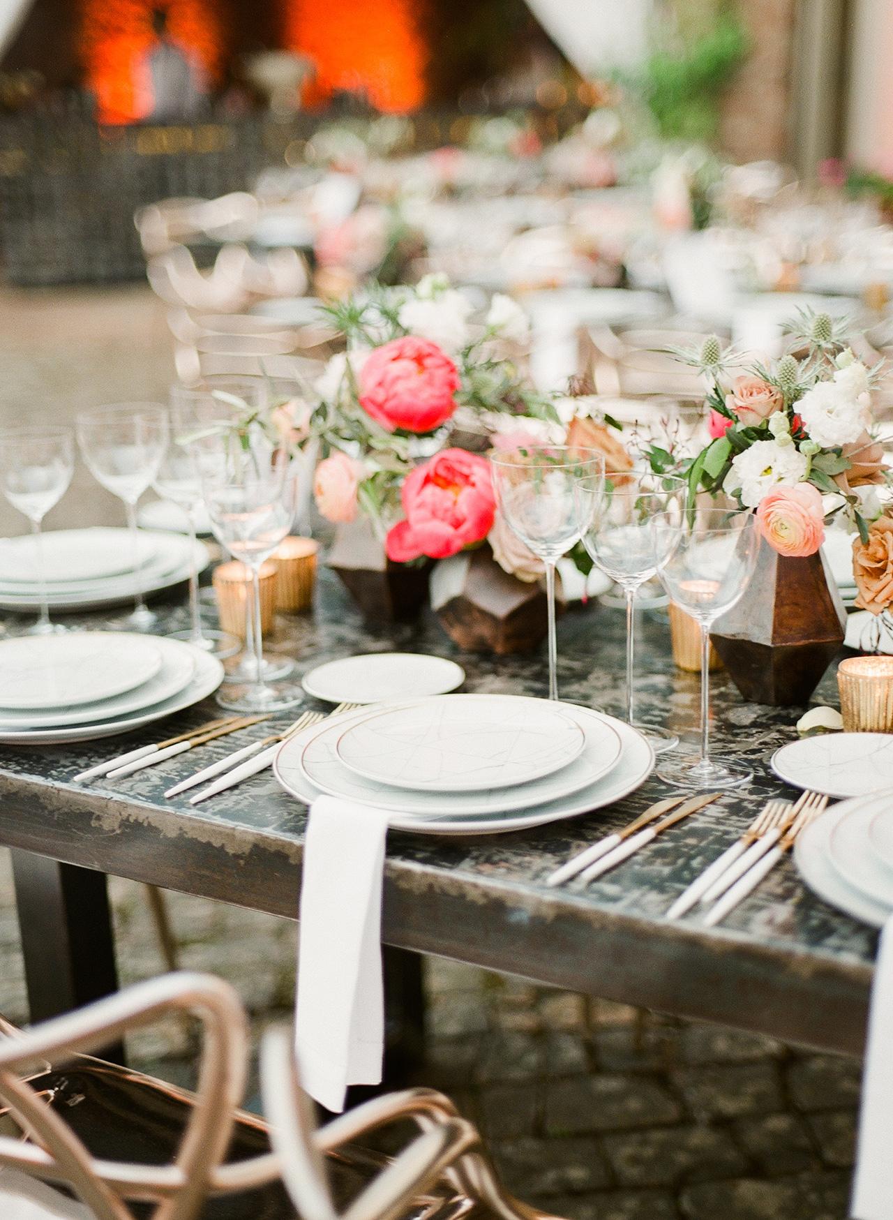 floral table setting arrangement rustic wooden tables