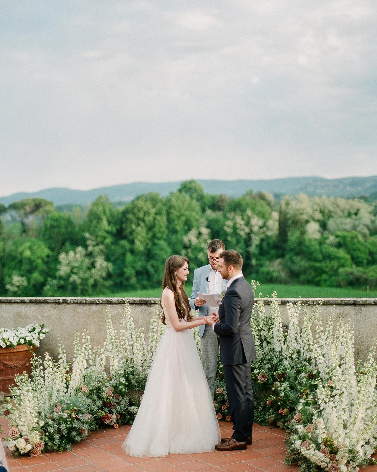 outdoor wedding ceremony vow exchange