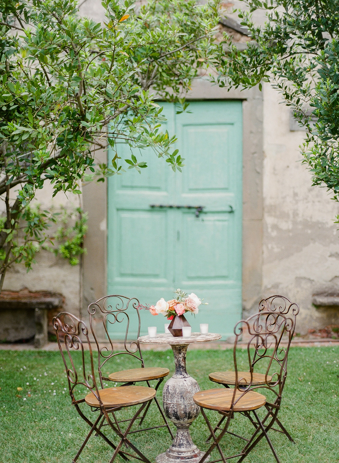 small chick tables iron chairs outdoors