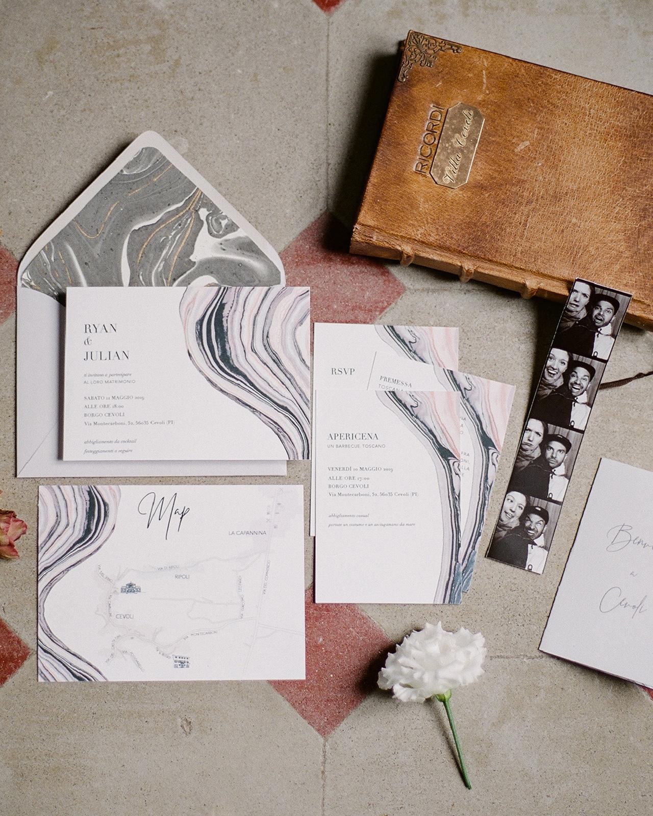 marbleized artistic wedding invite set