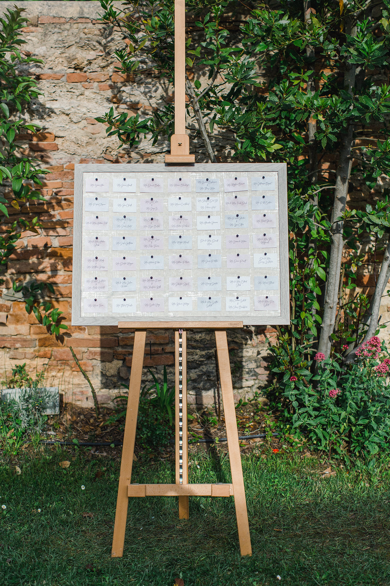 pastel color seating chart escort card easel display