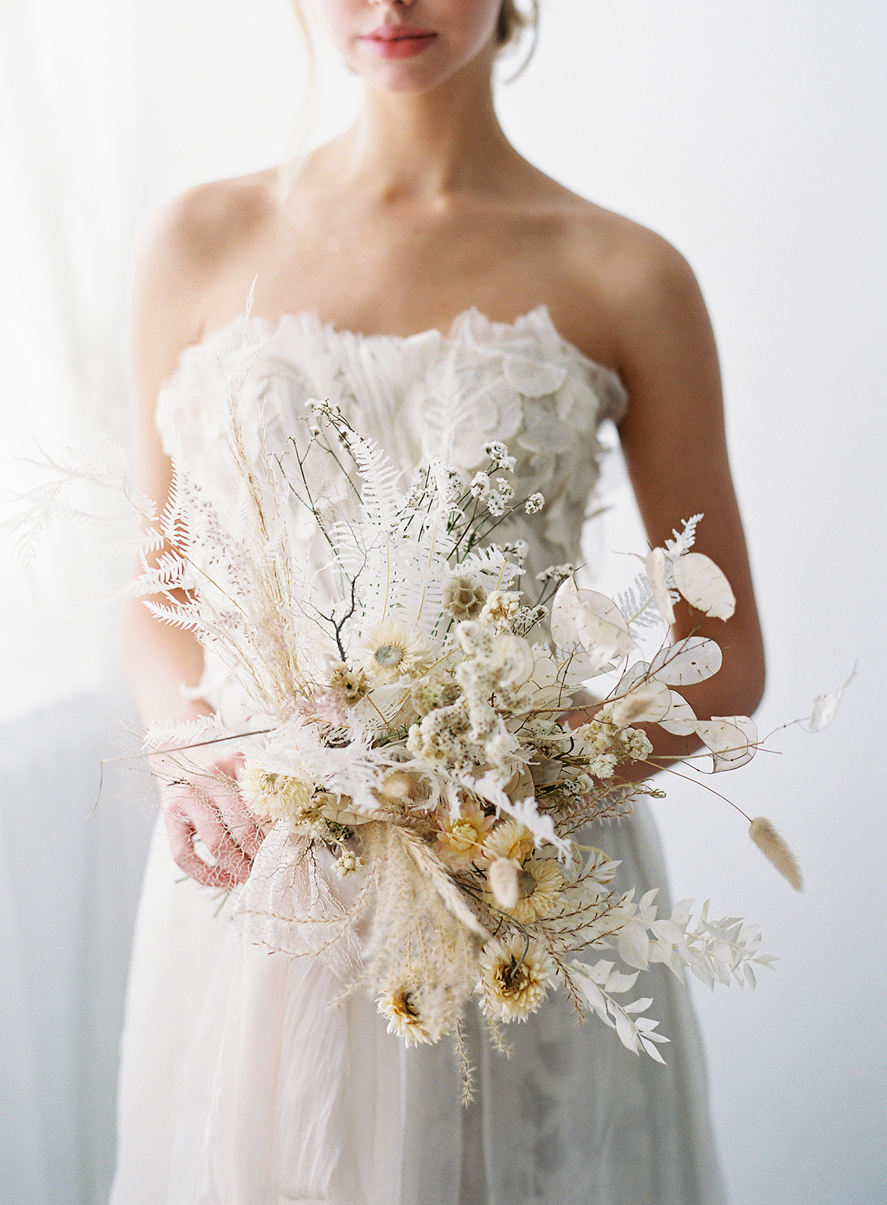 twig branch white and yellow bridal bouquet