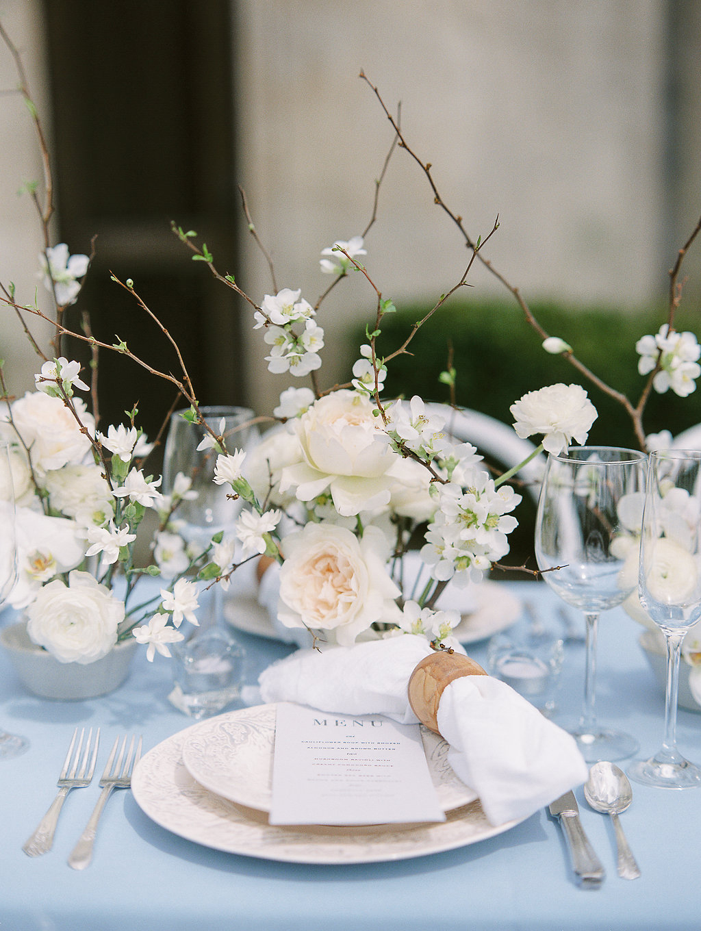 white twig branch wedding centerpiece
