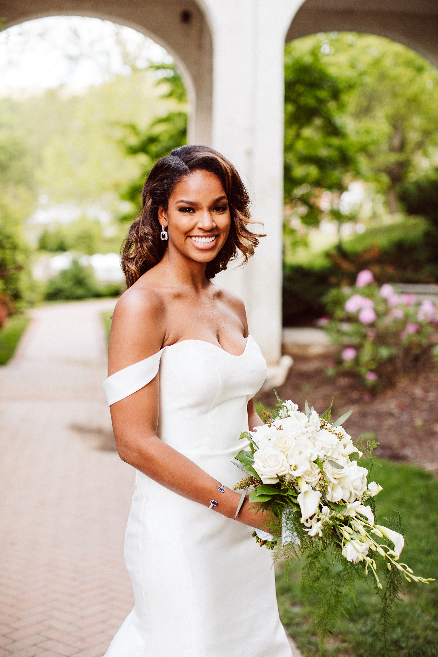 bryanna nick wedding bride white dress bouquet
