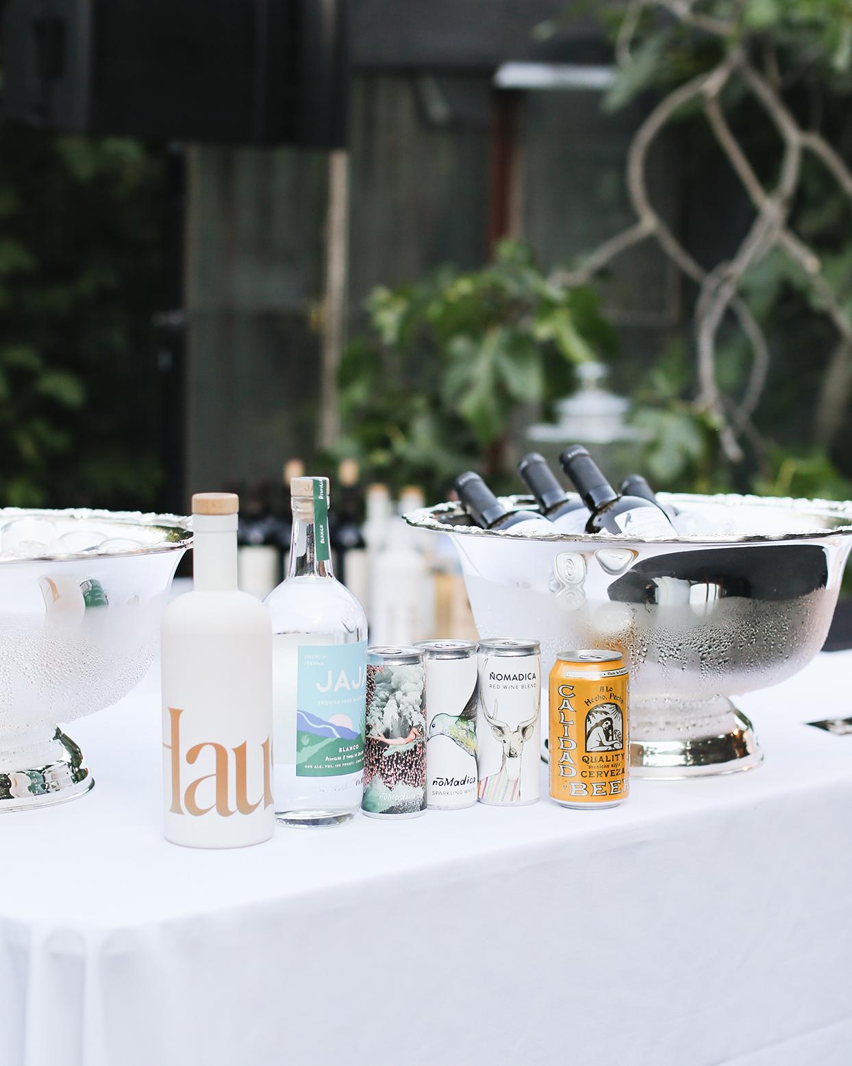 pia davide wedding drinks on white table