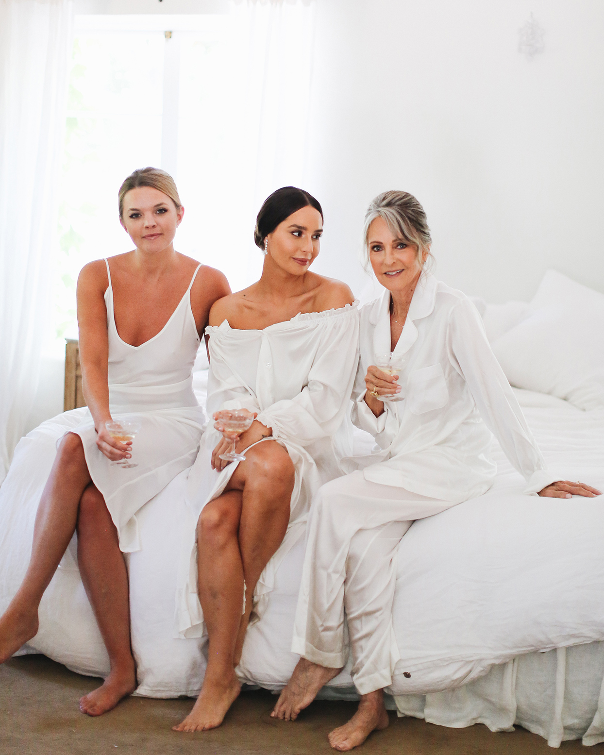 pia davide wedding girls getting ready in white