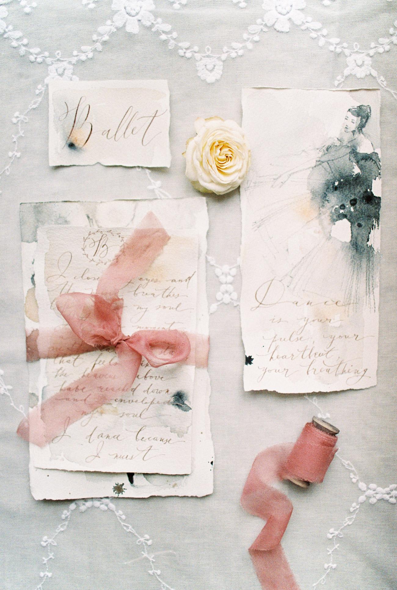 ballerina illustration watercolor wedding invites