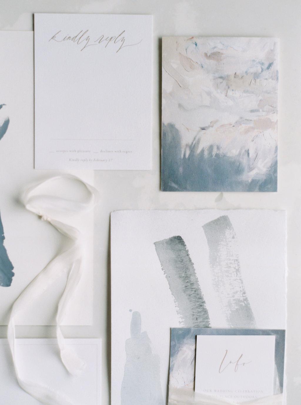 monochrome gray smudges watercolor wedding invites
