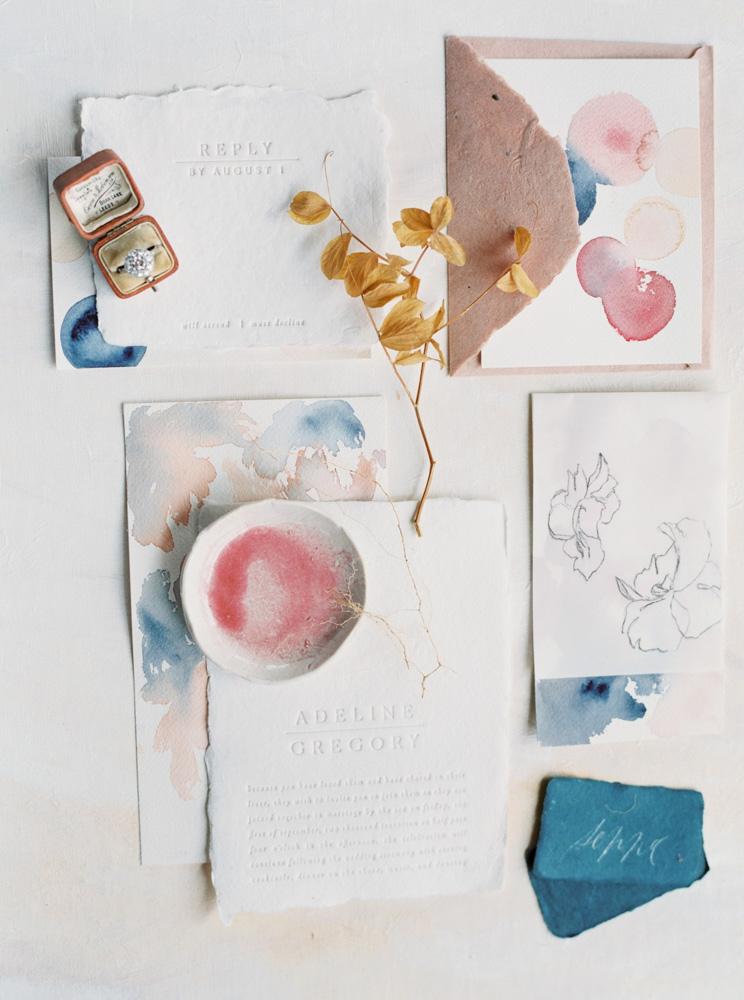 modern splashes of paint watercolor wedding invites