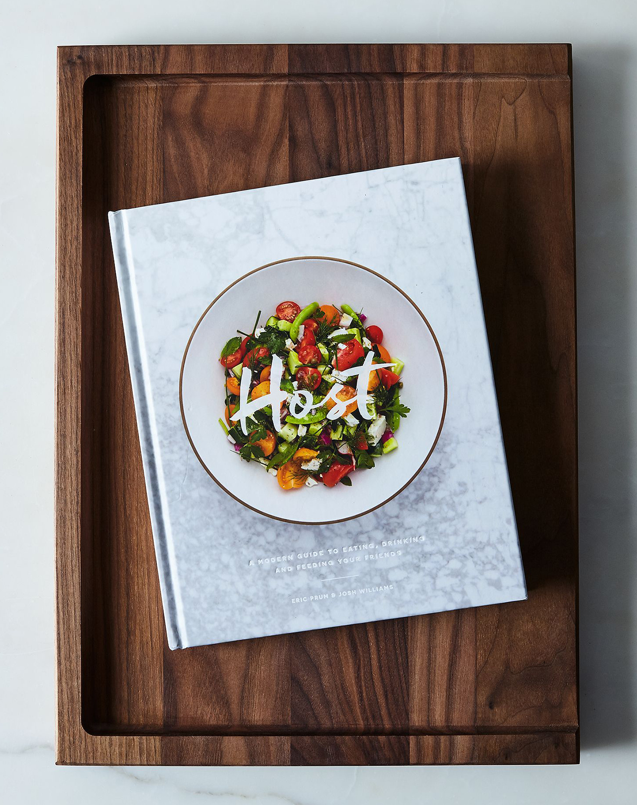 w&p host cookbook and walnut cutting board