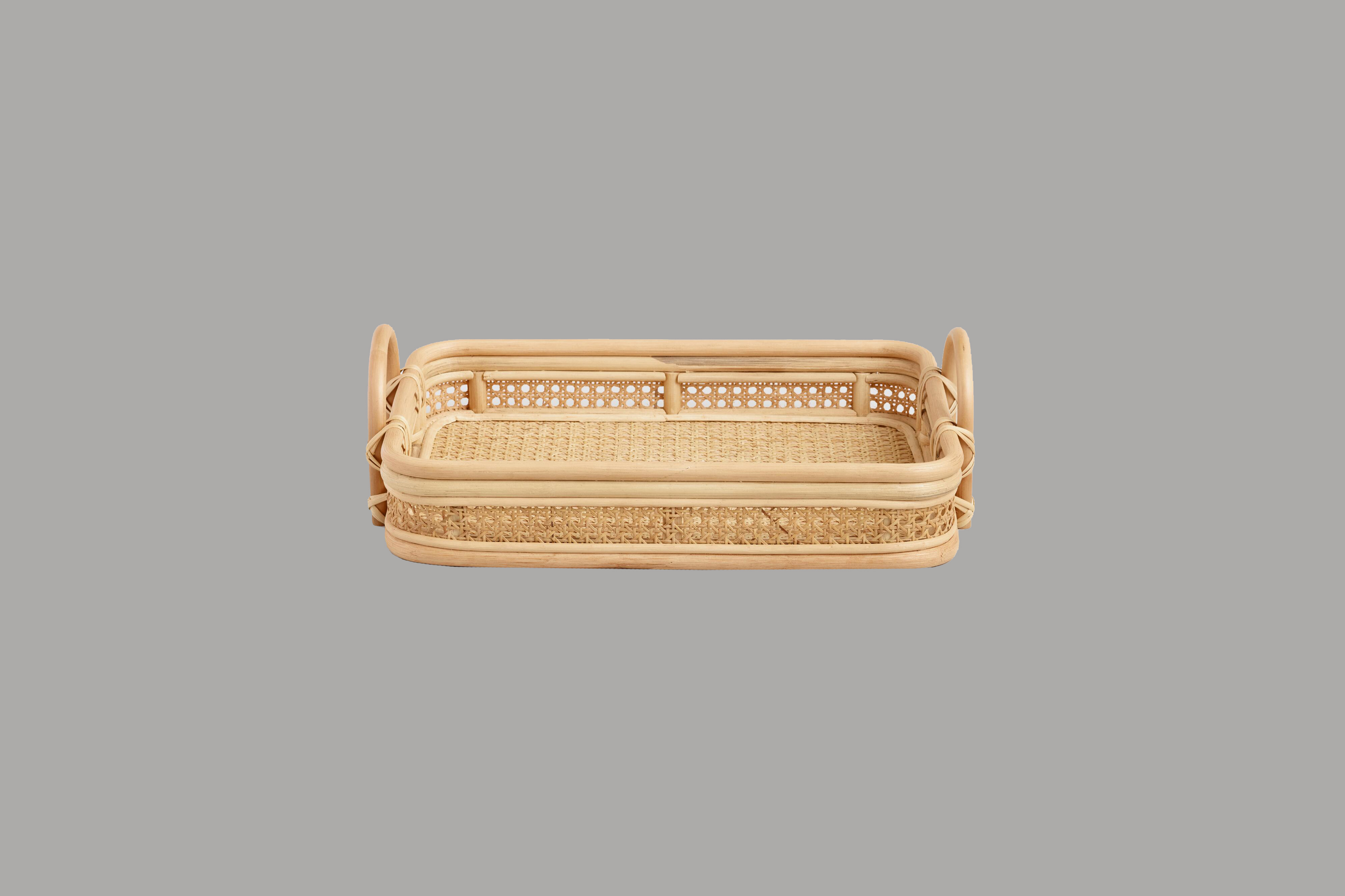 world market natural rattan cane serving tray