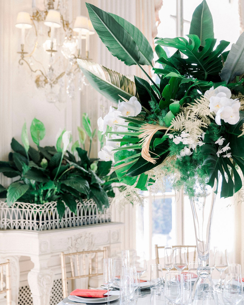 dalila elliot tropical green wedding centerpiece