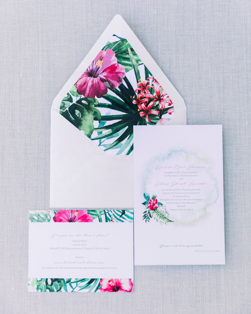 dalila elliot tropical and white wedding invitations