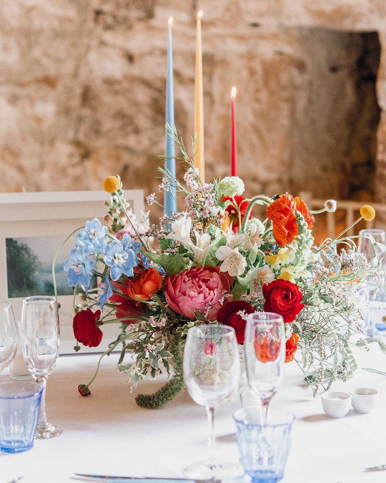 colorful floral candle arrangement table centerpieces