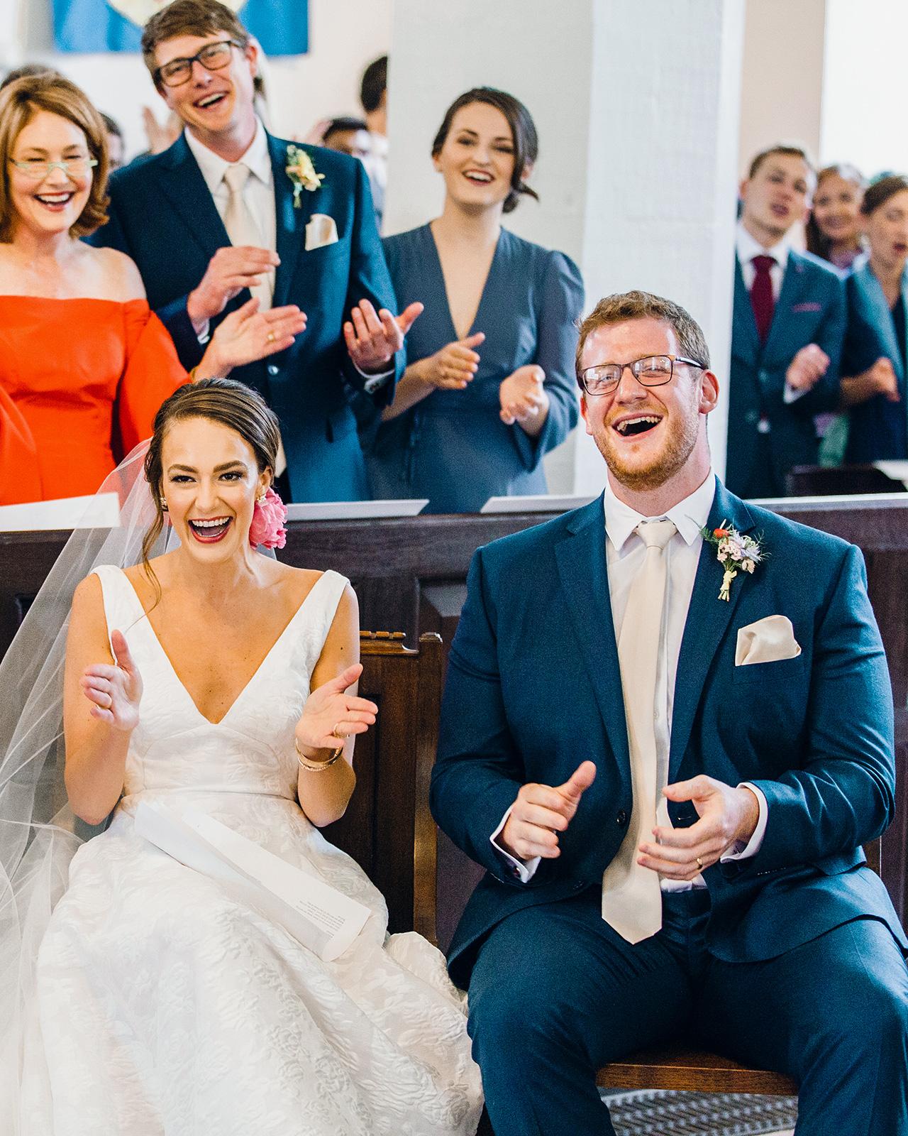 bride groom wedding reception singing clapping