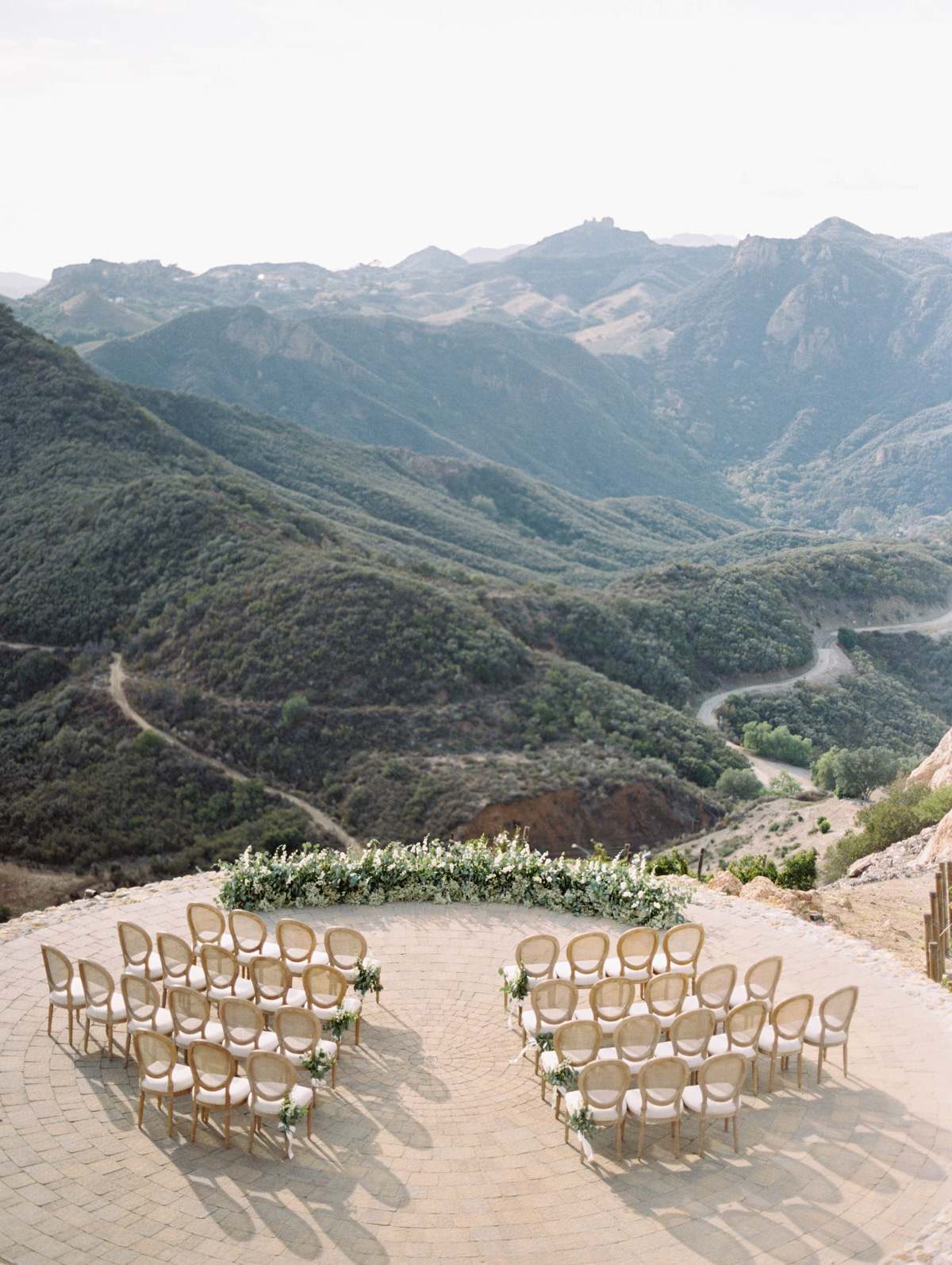 aerial view view mountain-top ceremony seating