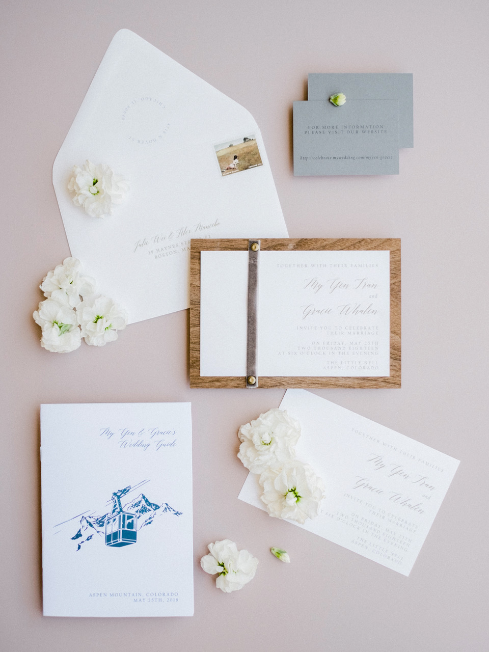 wood backing leather strap wedding invitation suite
