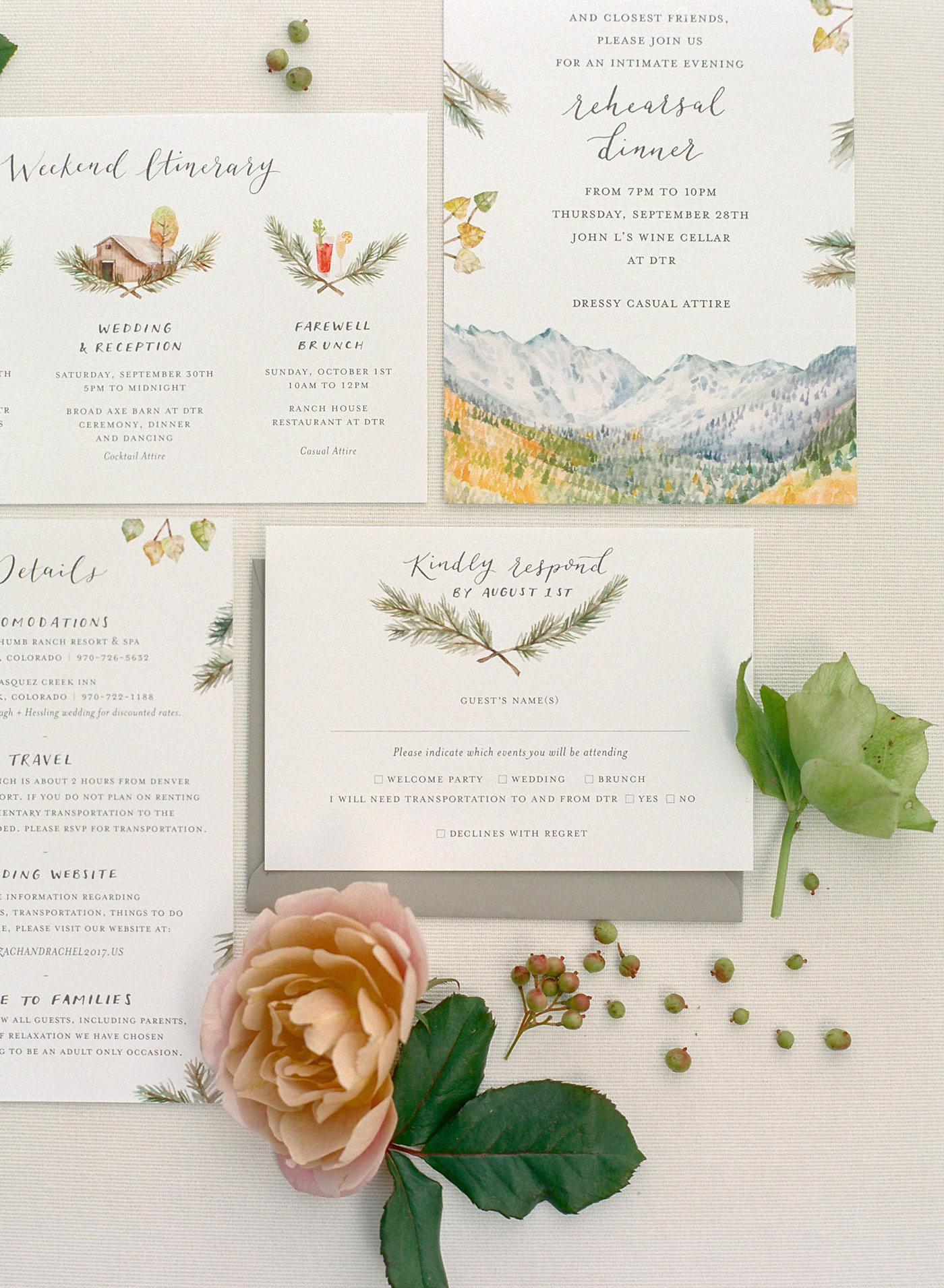 colorful moutain-inspired watercolor invitation suite