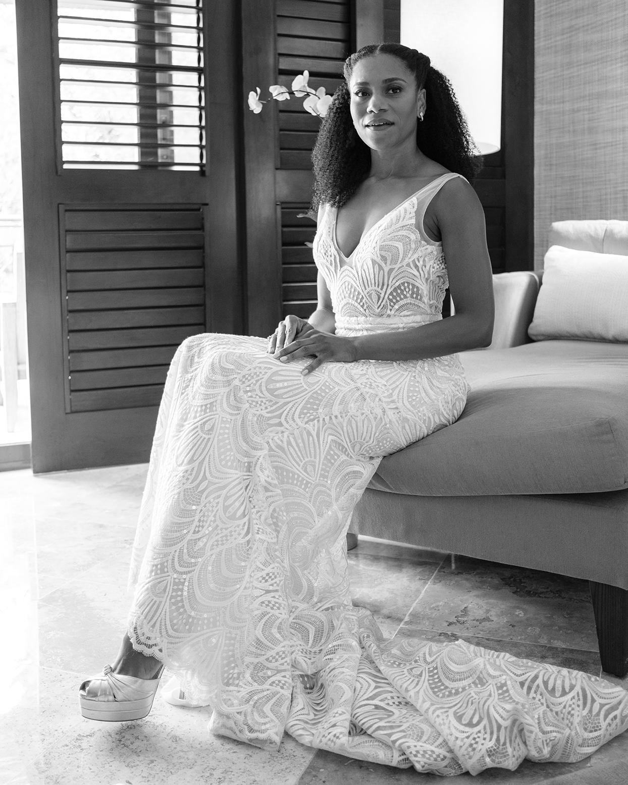 kelly mccreary sitting in wedding dress