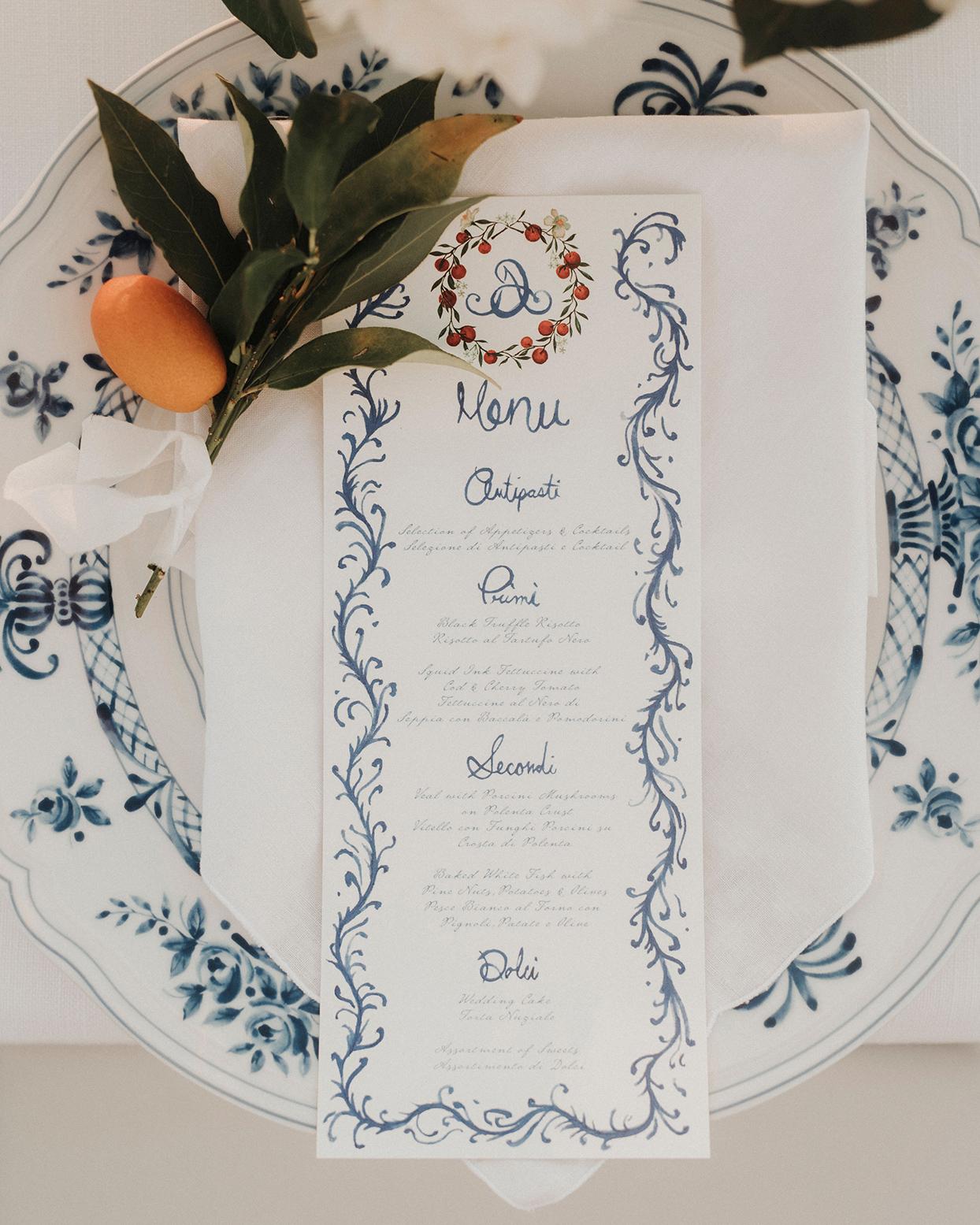 jaclyn antonio watercolor menu place setting