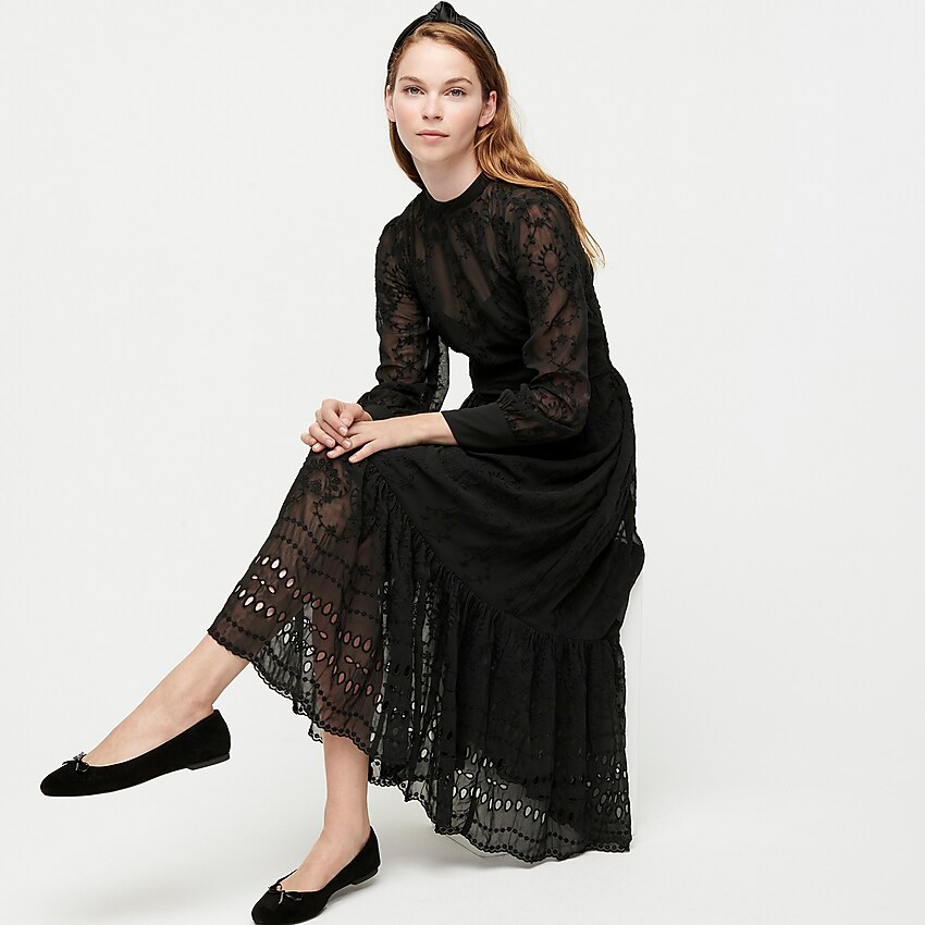 J.Crew Embroidered Long-Sleeve Midi Dress
