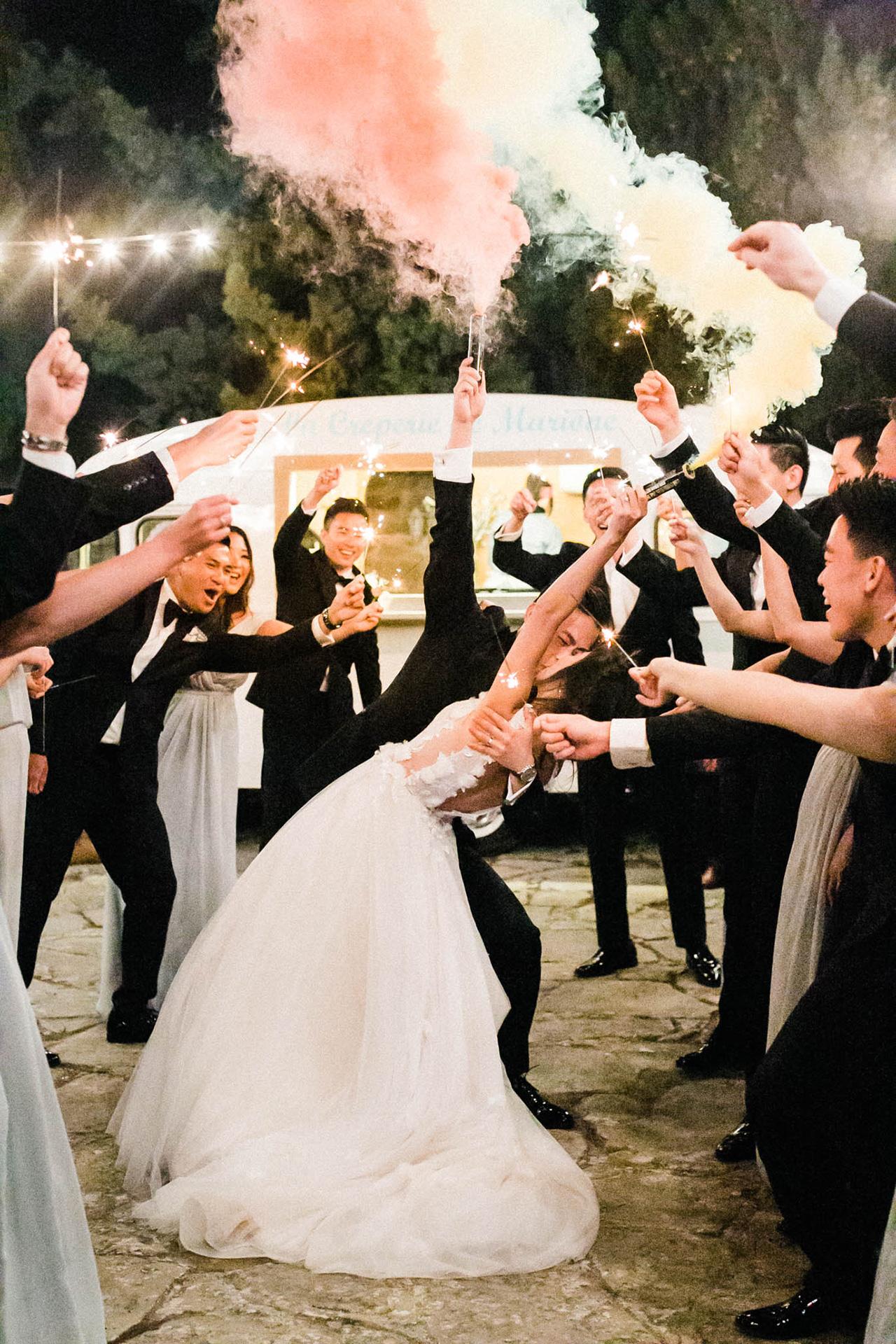 sparkler smoke wedding send off oudoors