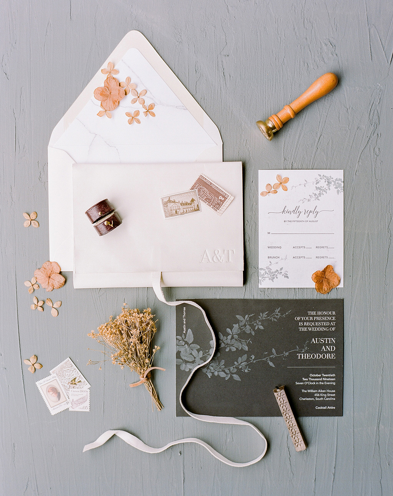 pressed floral winter wedding invitation