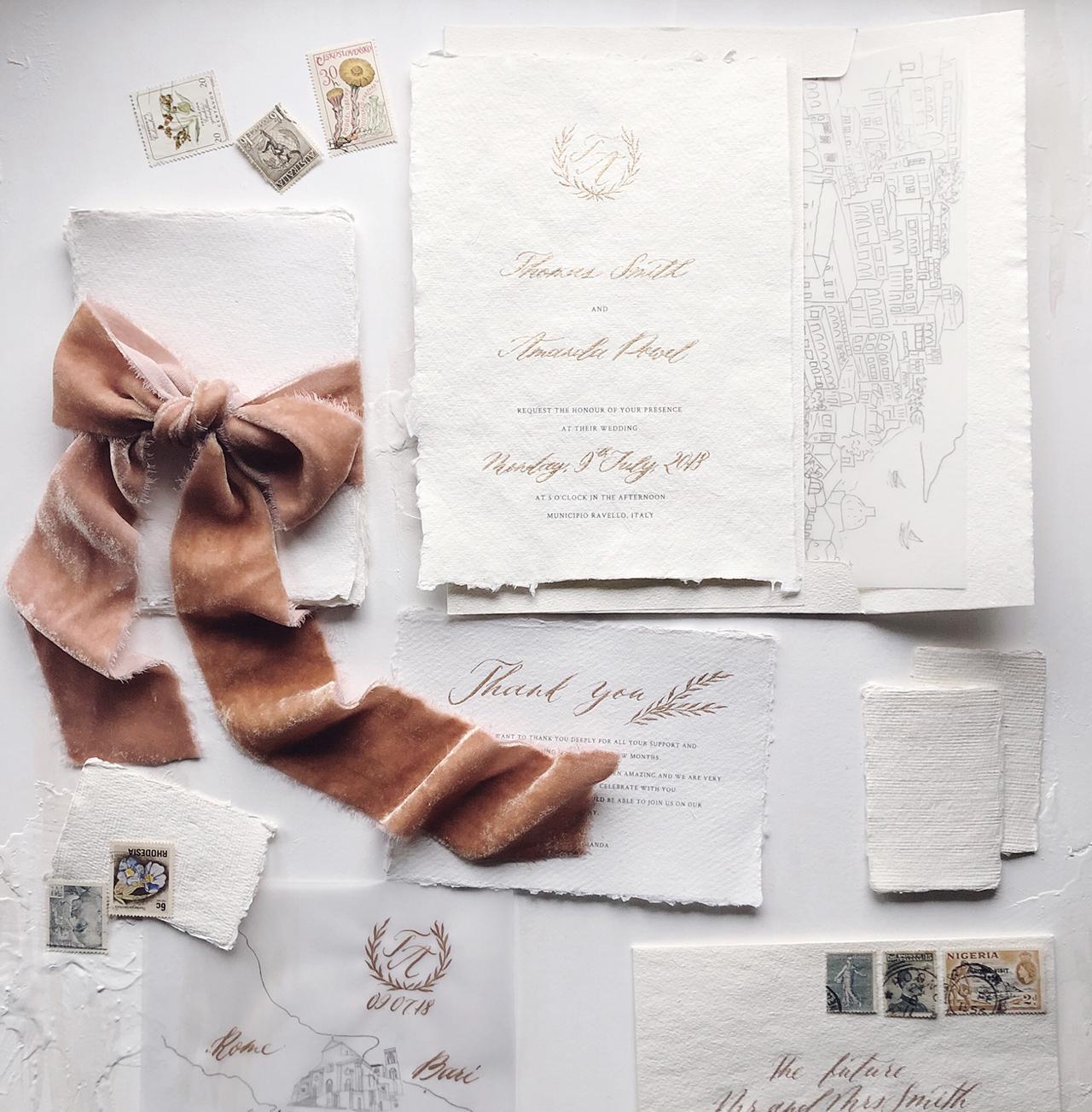 textured winter wedding invitation velvet ribbon