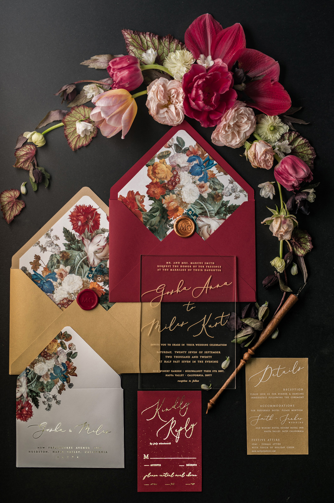 red metallic gold winter invitation floral palette
