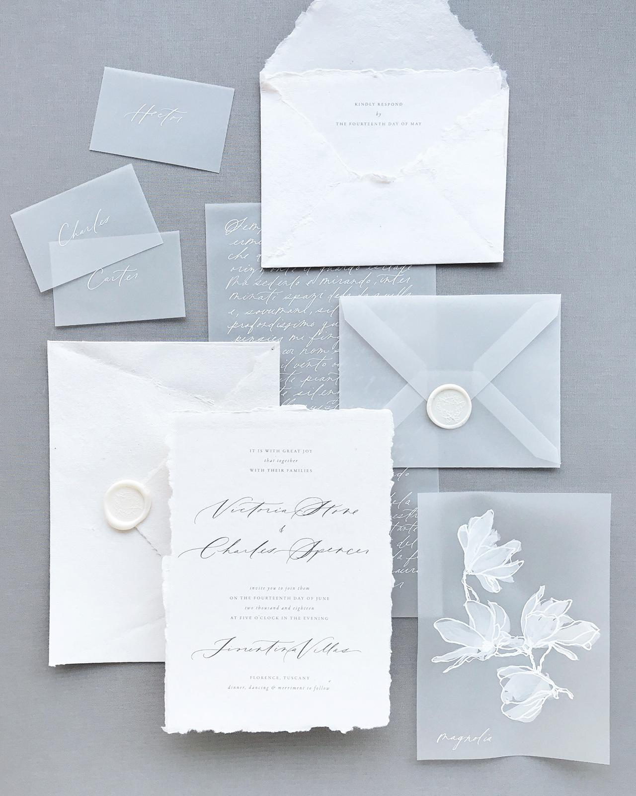 vellum snow white winter wedding invitation