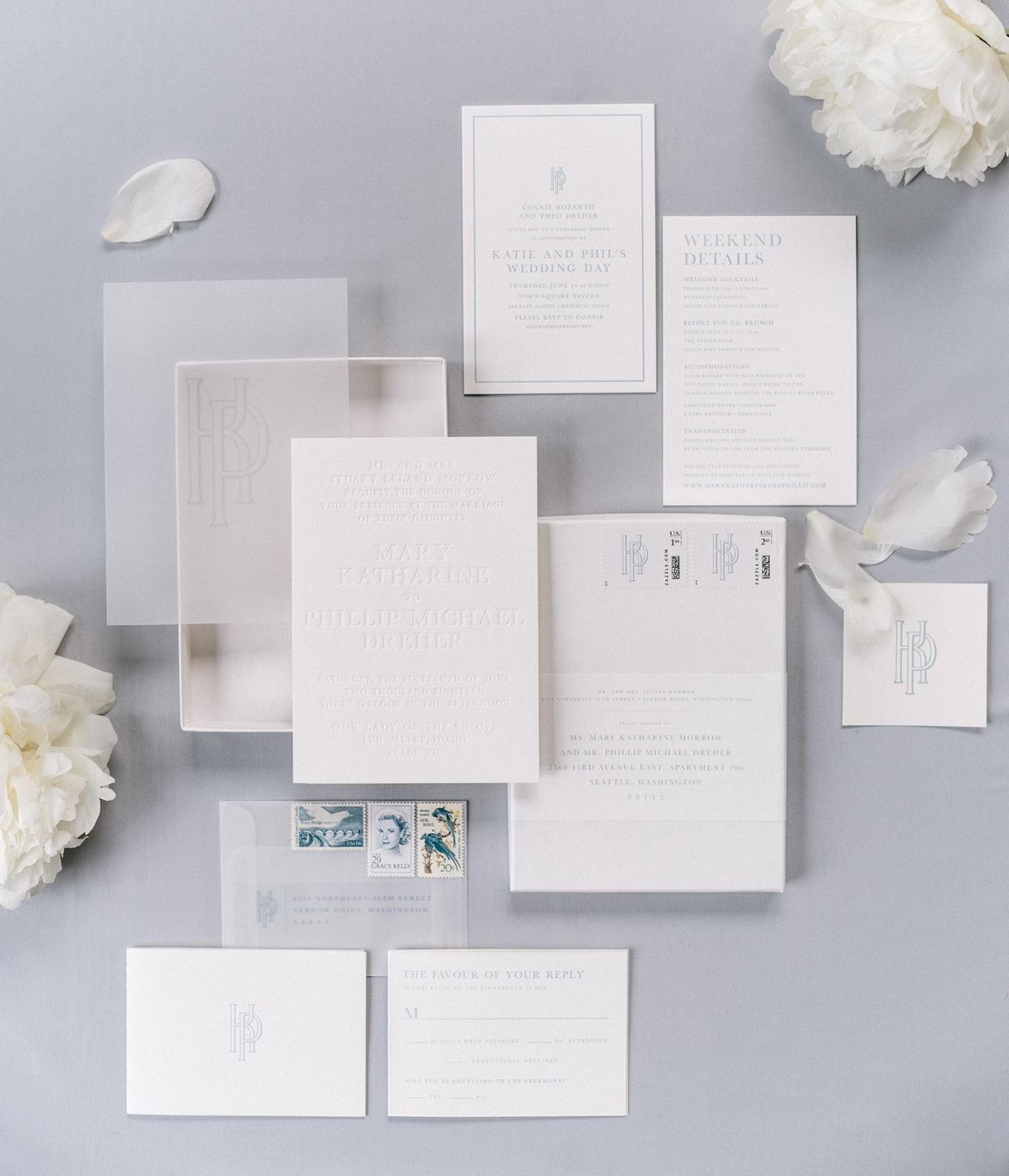 snowy white winter theme wedding invitation