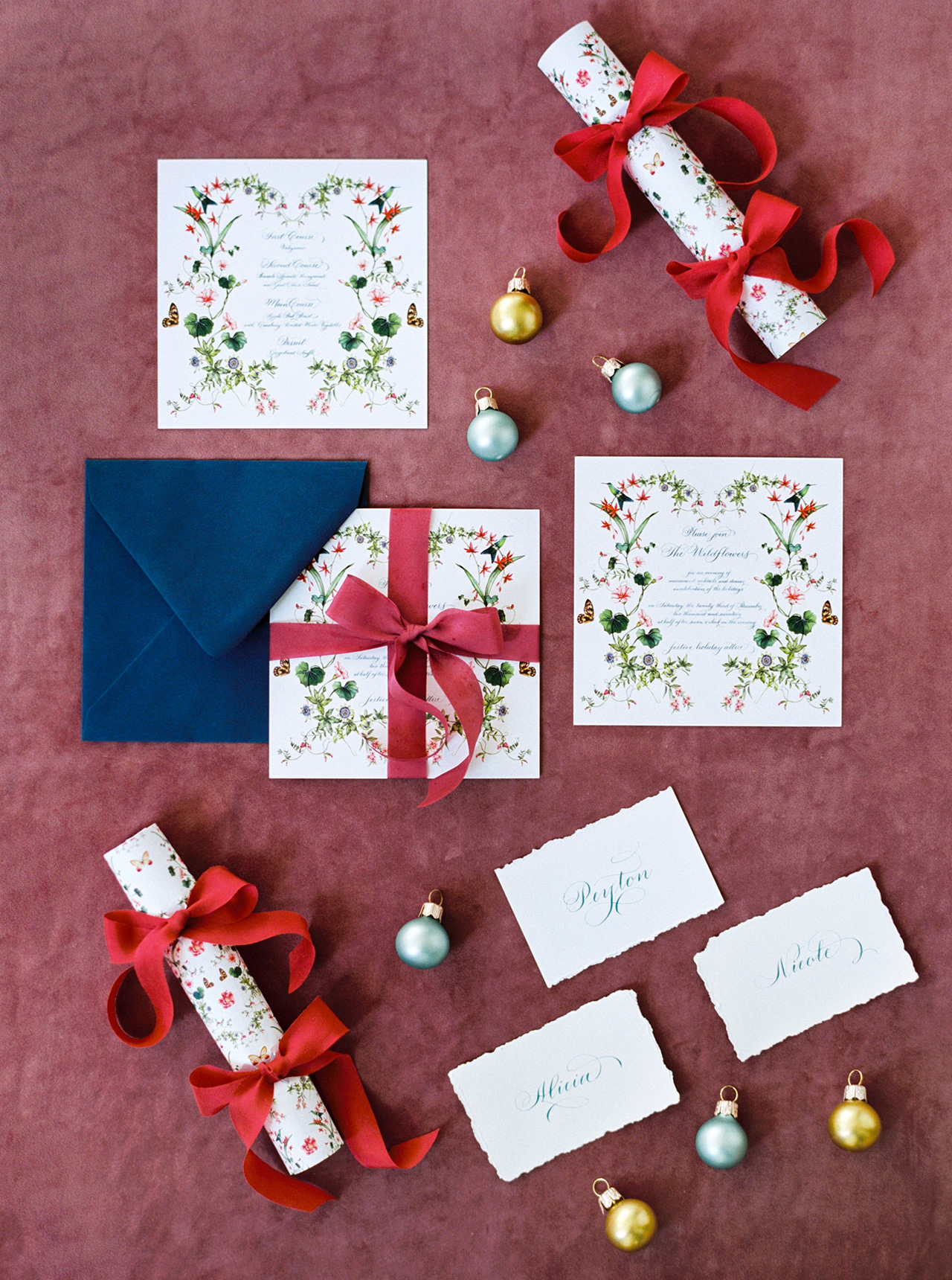 christmas time winter wedding invitation