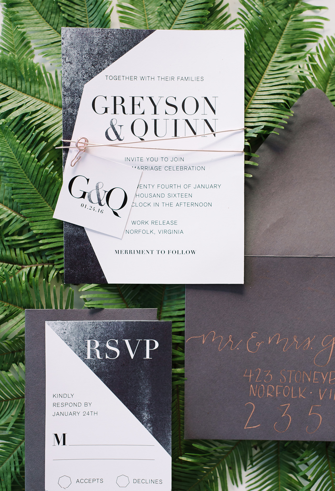 charcoal white winter theme wedding invitation