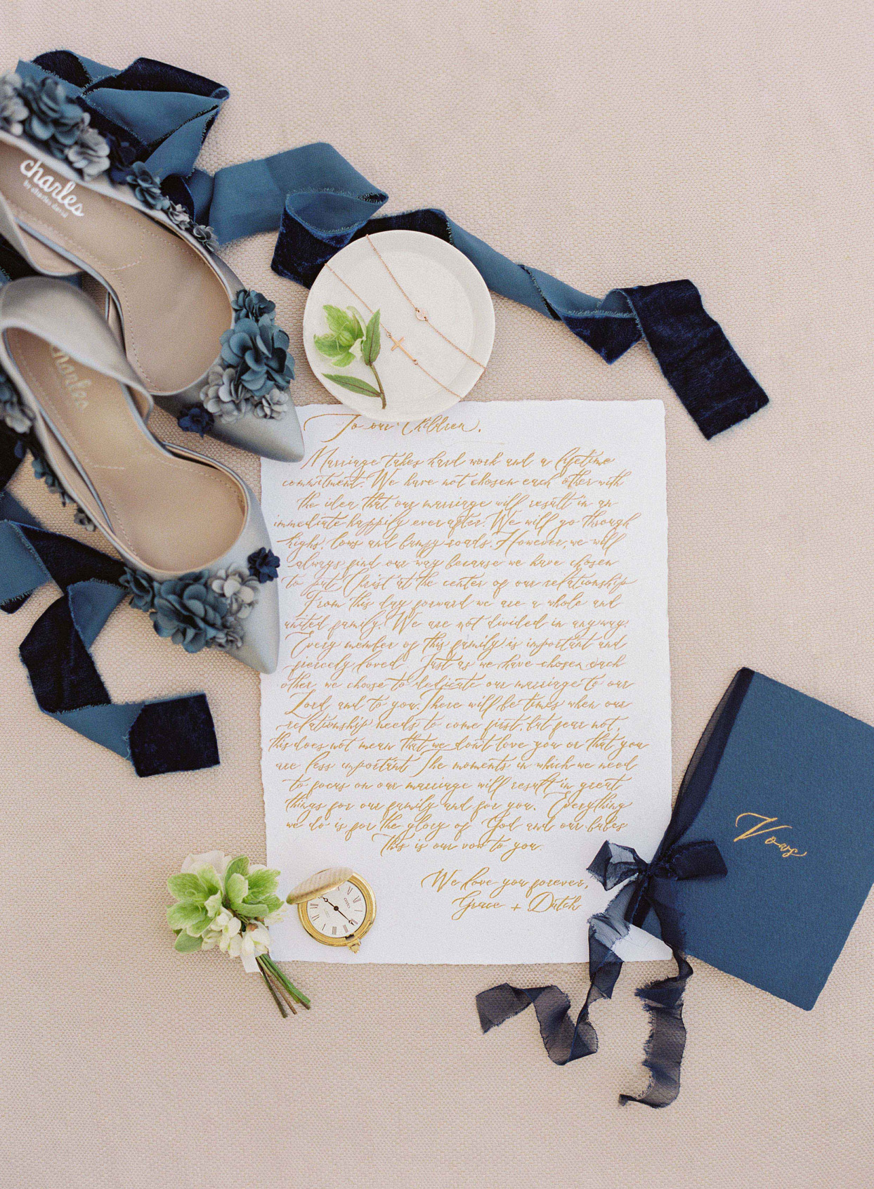 navy blue and gold wedding accessories