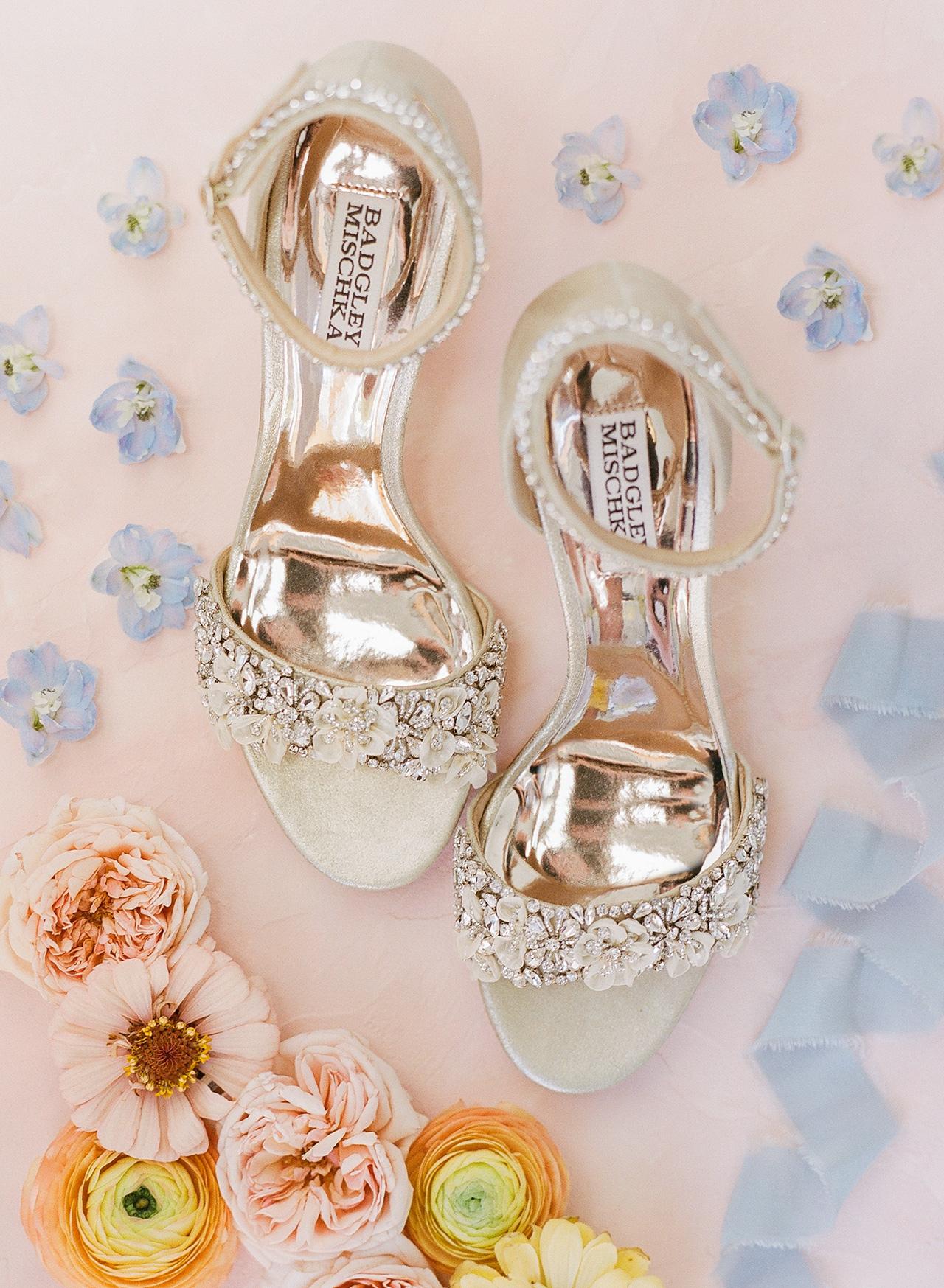 bride wedding shoes floral rhinestone details