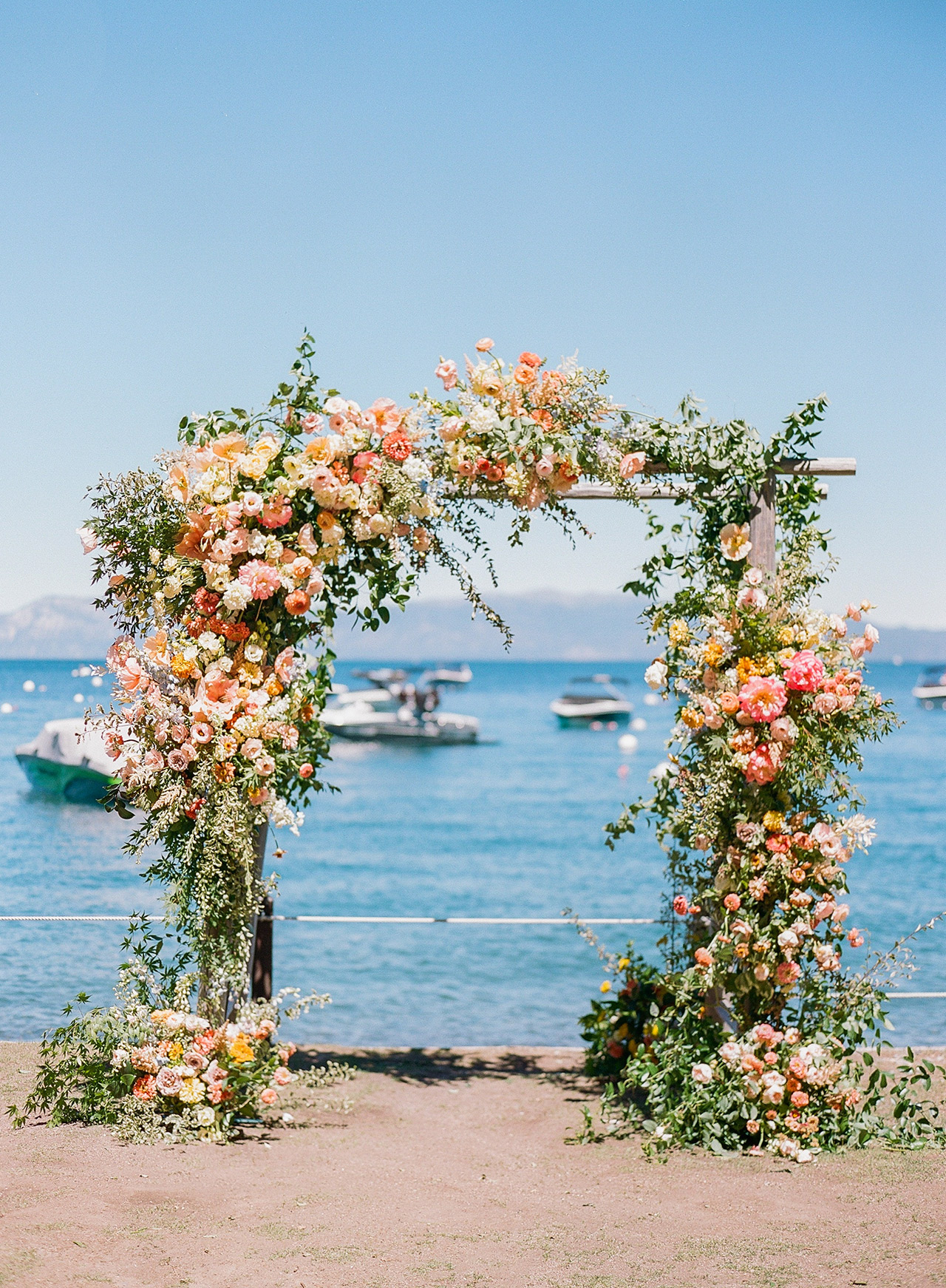 wedding ceremony floral arch marina mountain view