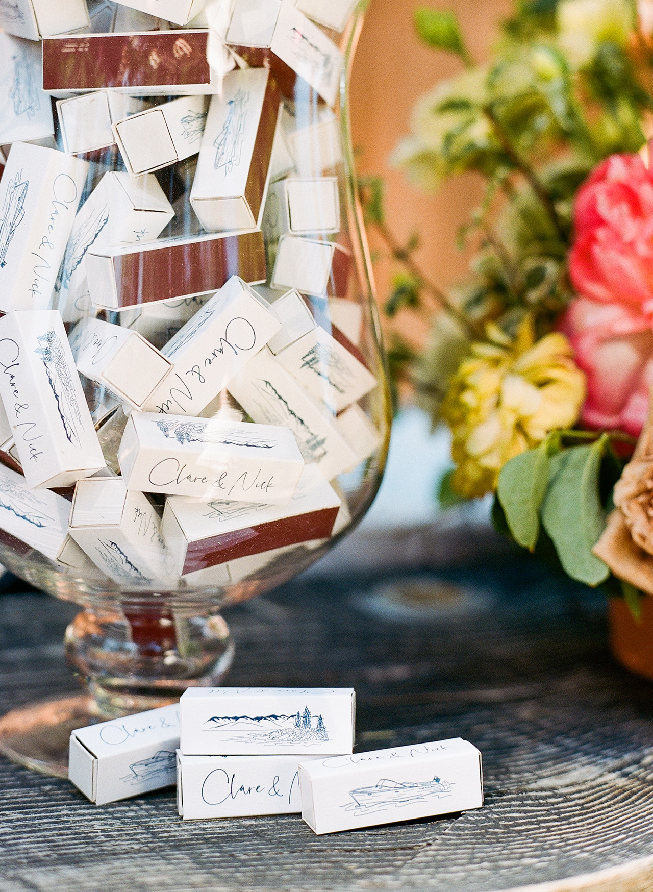 custom illustrated matchbook wedding favors