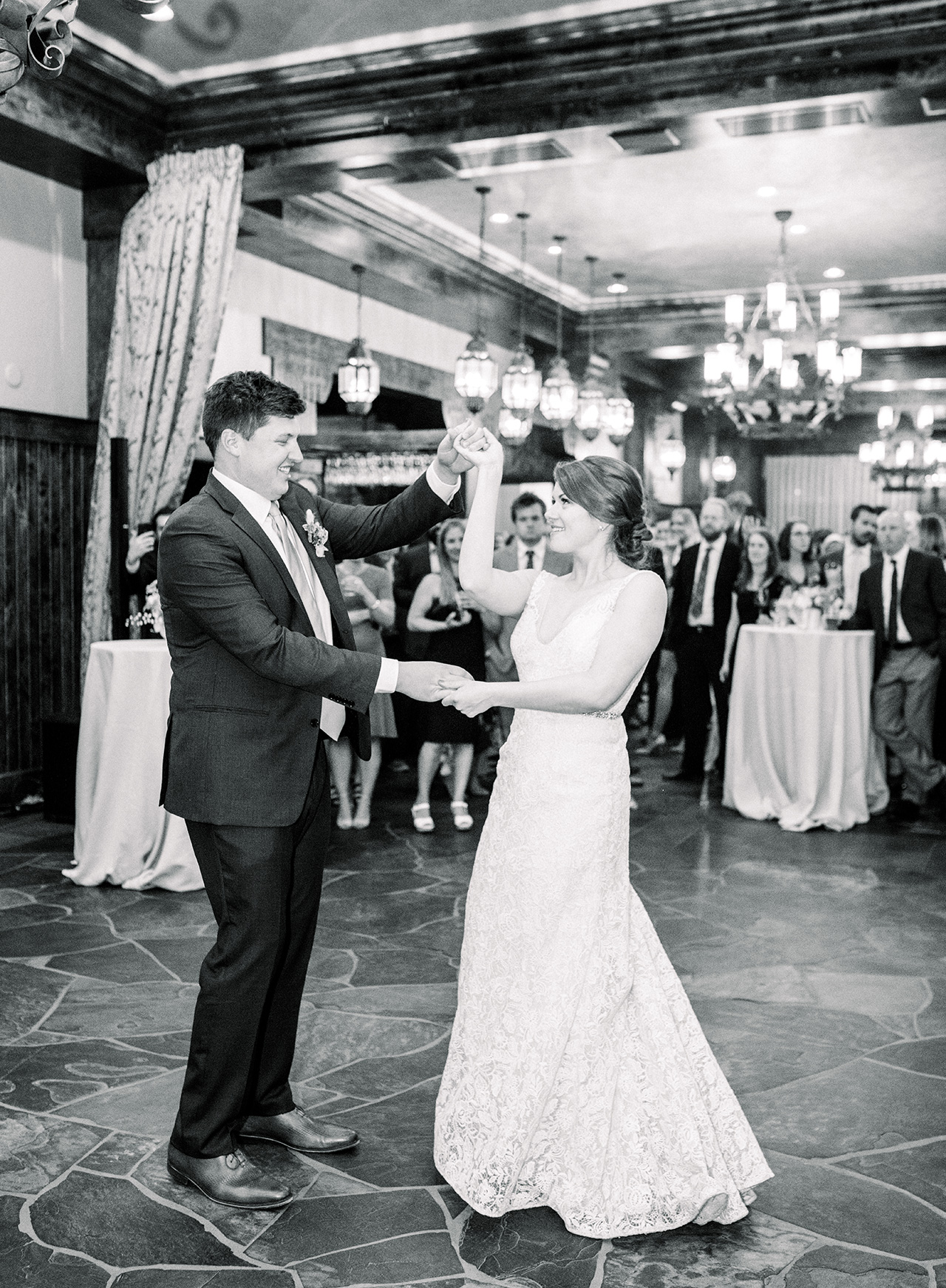 bride groom wedding reception first dance twirl