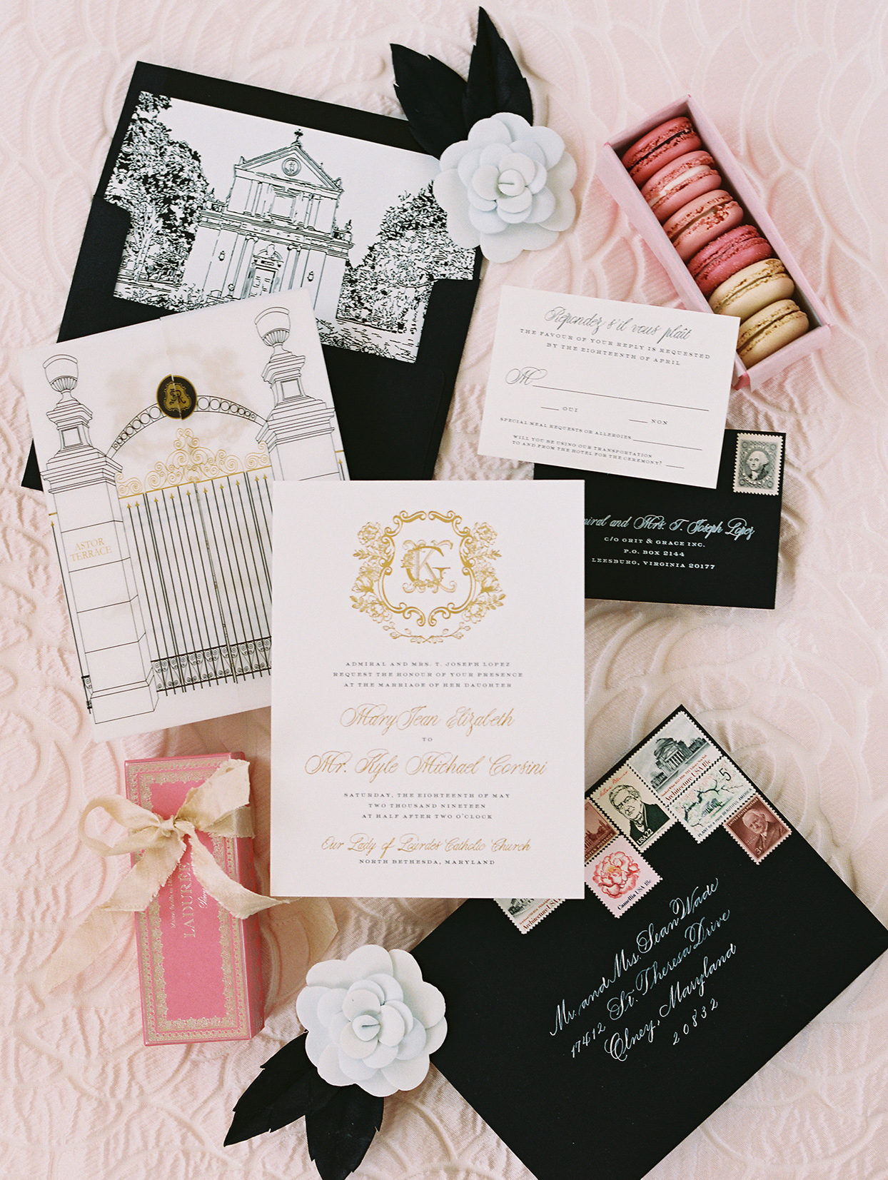 gigi kyle pink and black wedding invites