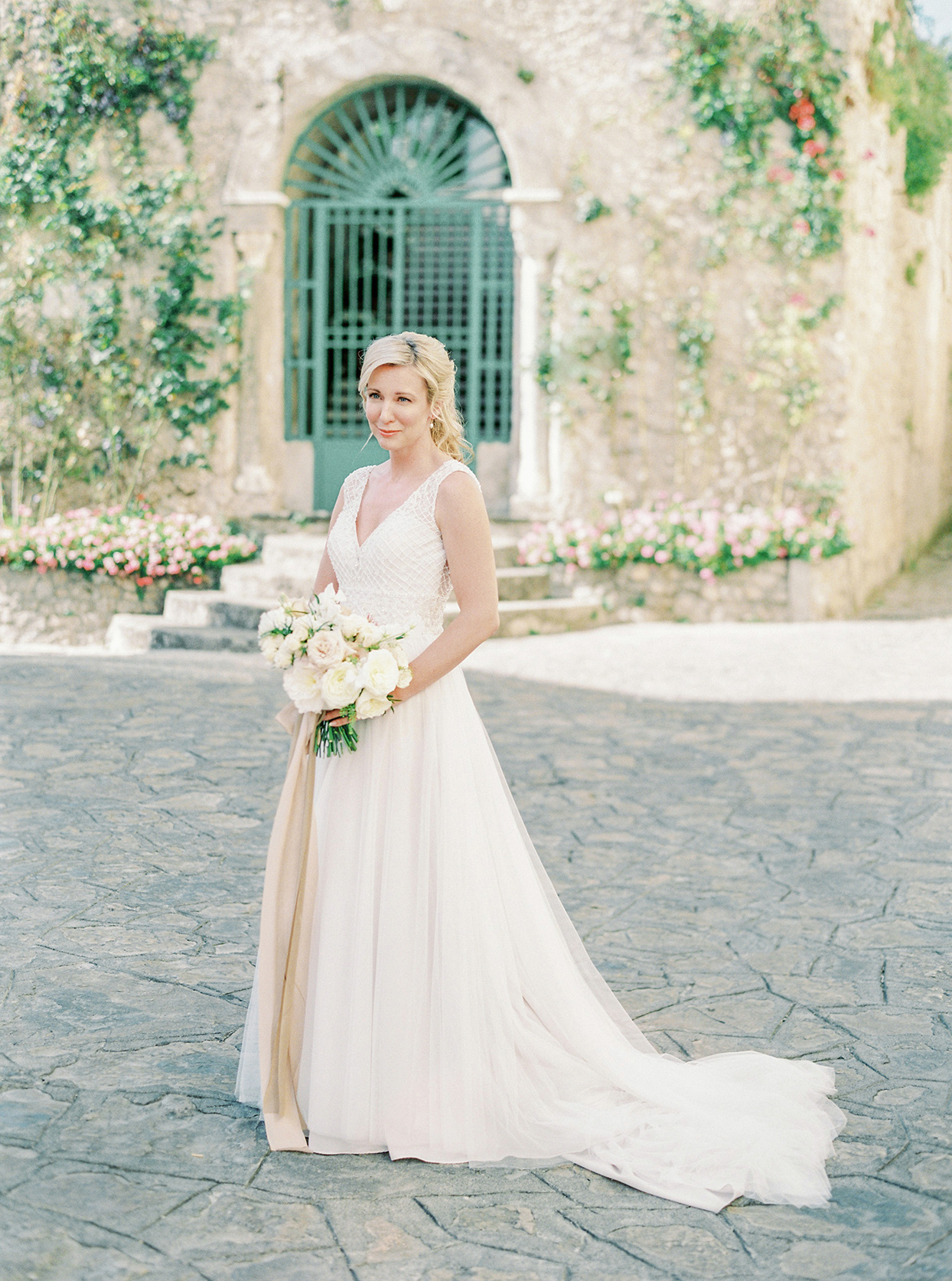 krystyna alexander wedding bride in courtyard